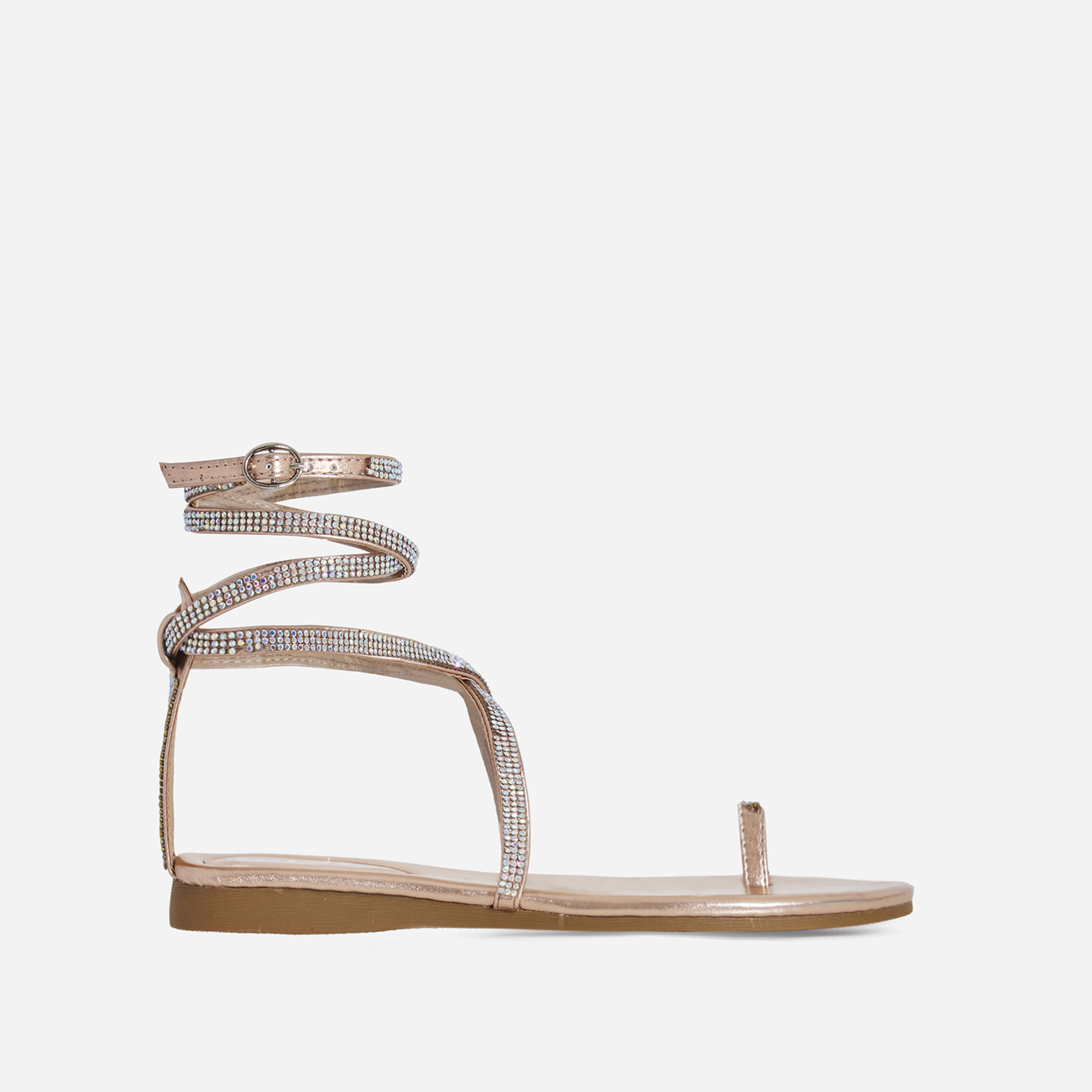 Carat Diamante Lace Up Toe Strap Gladiator Sandal In Rose Gold Faux Leather