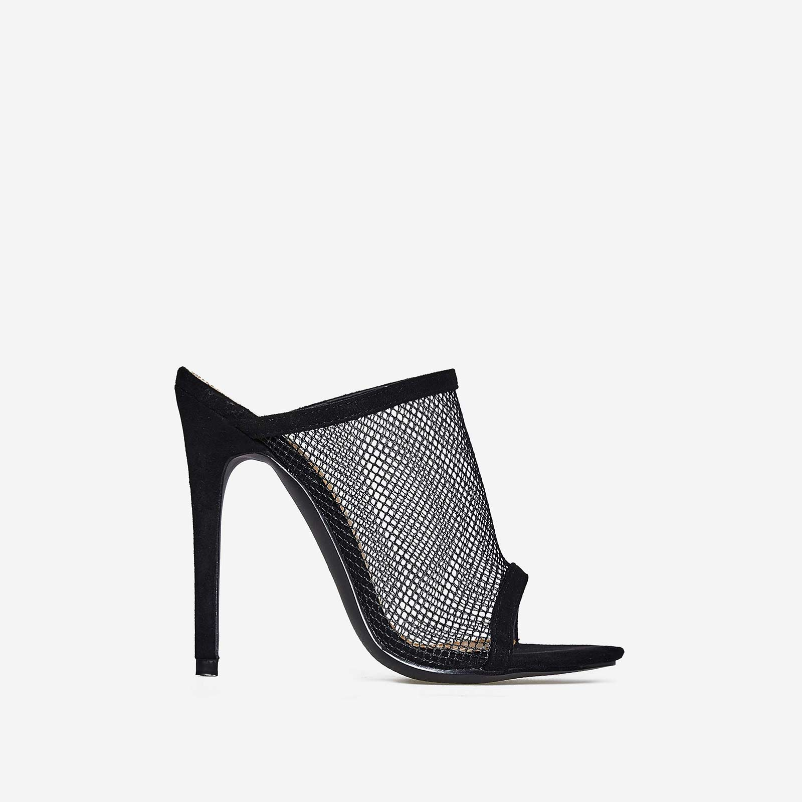 Cardi Fishnet Peep Toe Mule In Black Faux Suede