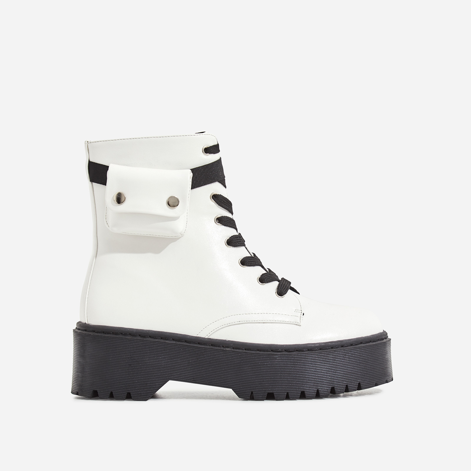 Cargo Pocket Detail Lace Up Ankle Biker Boot In White Faux Leather
