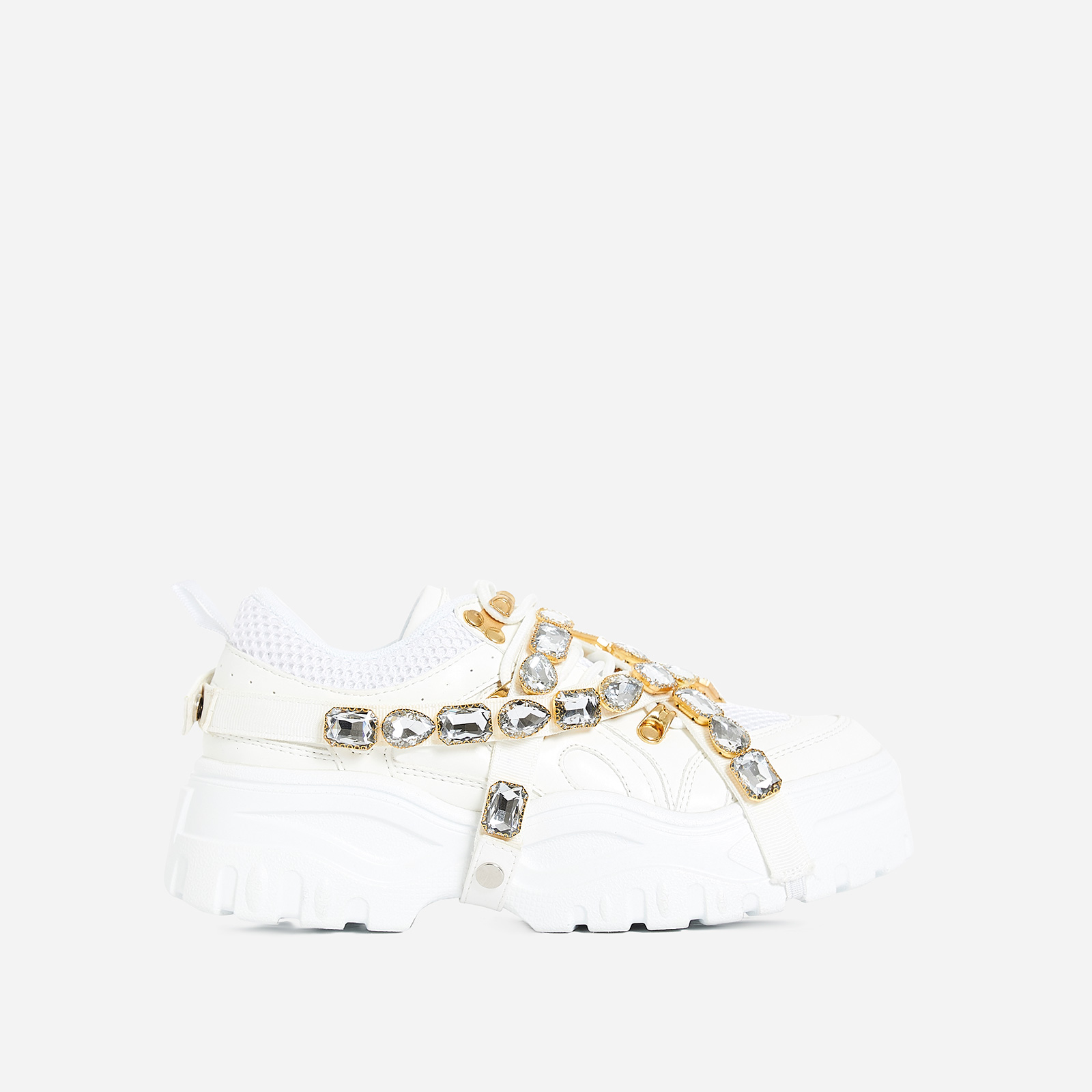 Fever Gem Embellished Trainer In White Faux Leather