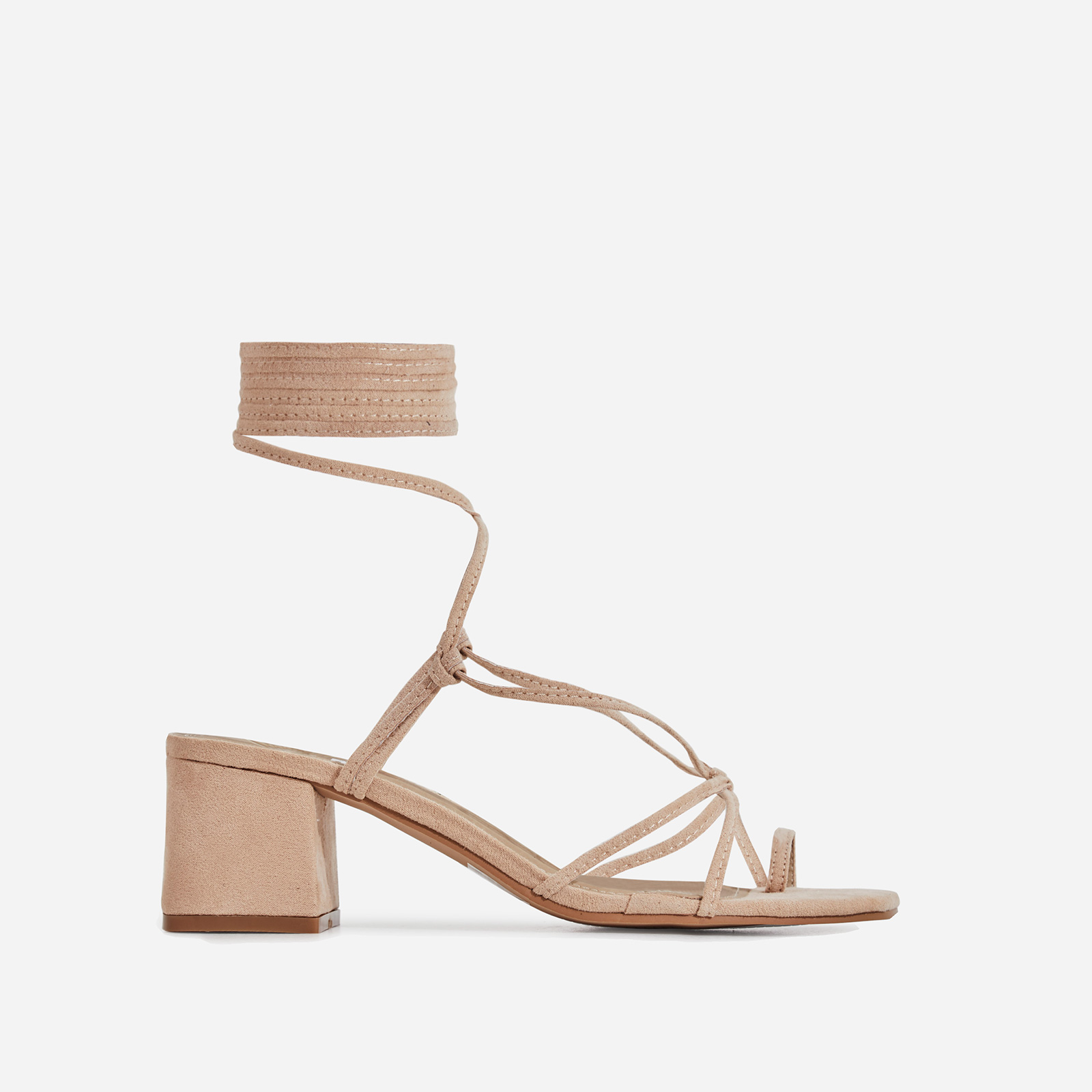Circe Midi Block Heel Lace Up Heel In Nude Faux Suede