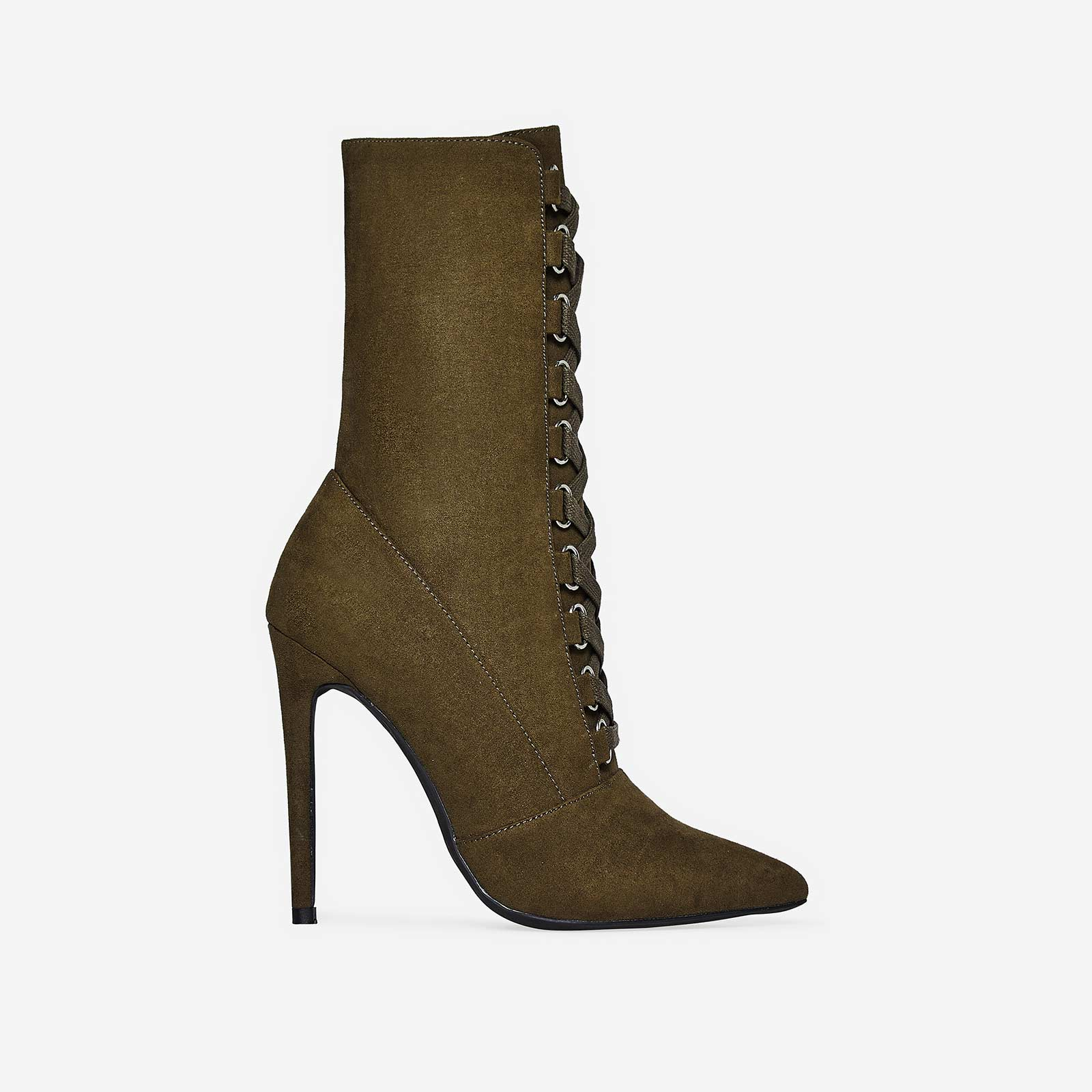 Cleo Pointed Toe Lace Up Ankle Boot In Khaki Faux Suede