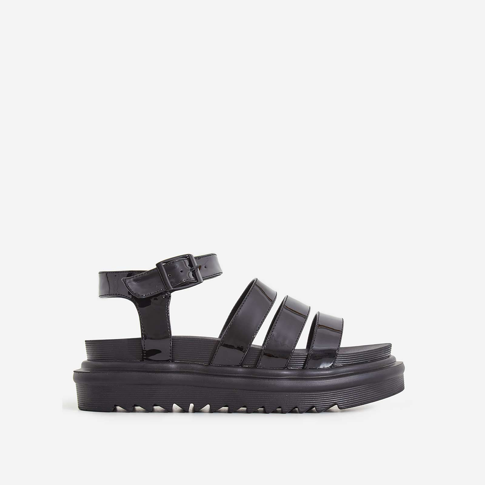 Clueless Chunky Sole Sandal In Black Patent
