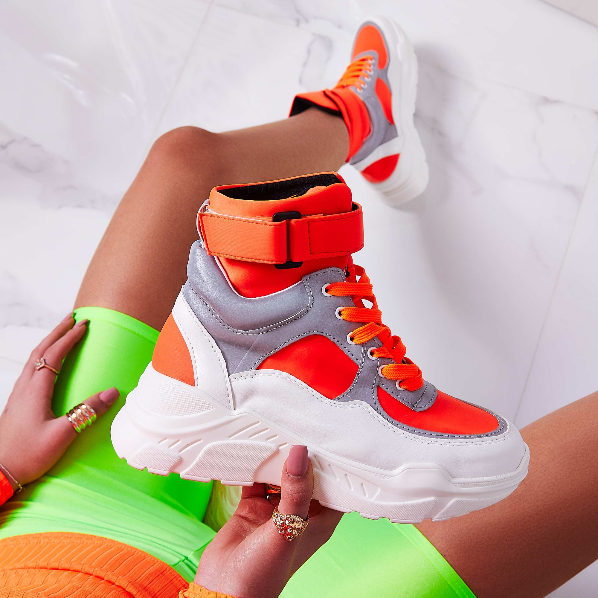 Coco High Top Reflective Trainer In Orange