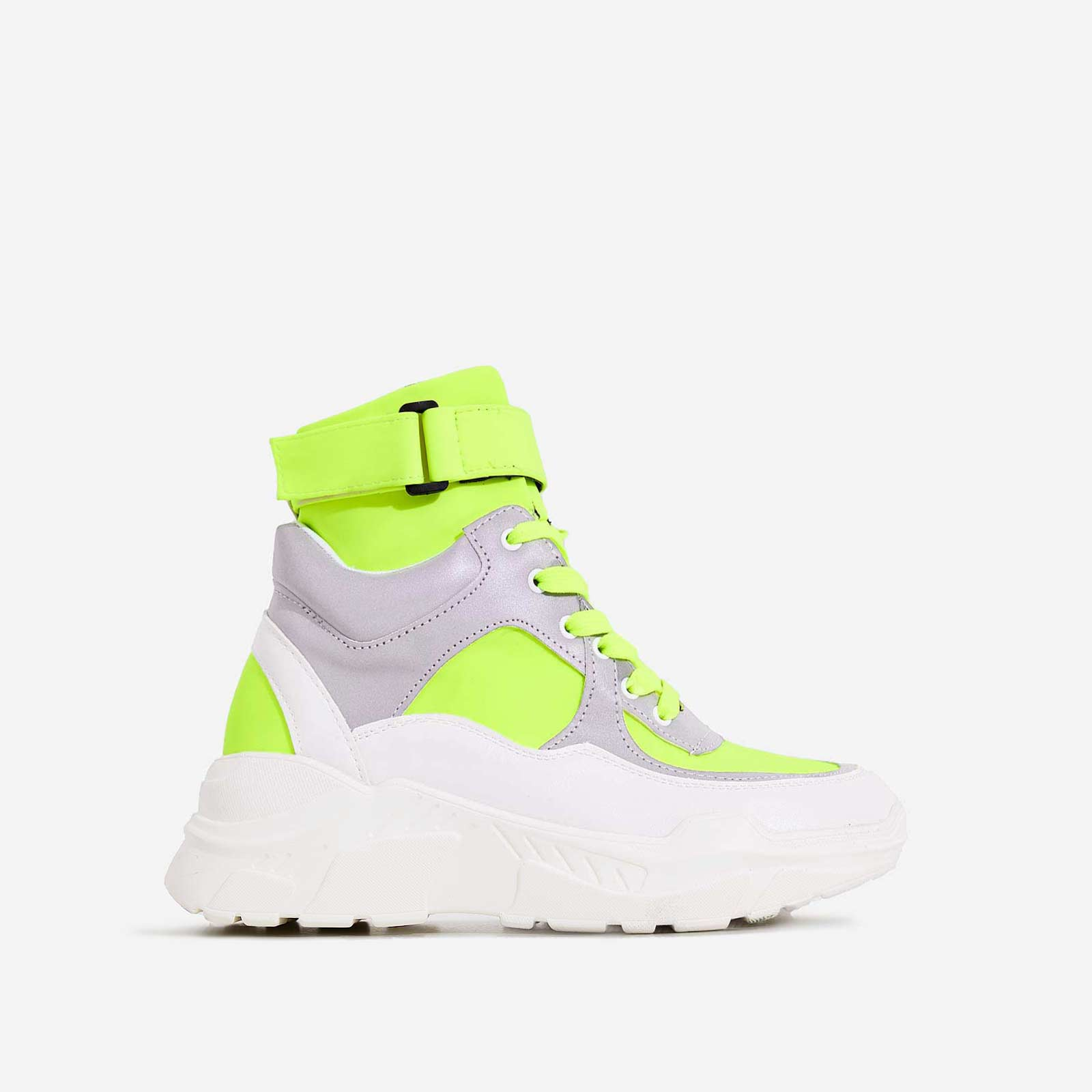 Coco High Top Reflective Trainer In Lime Green