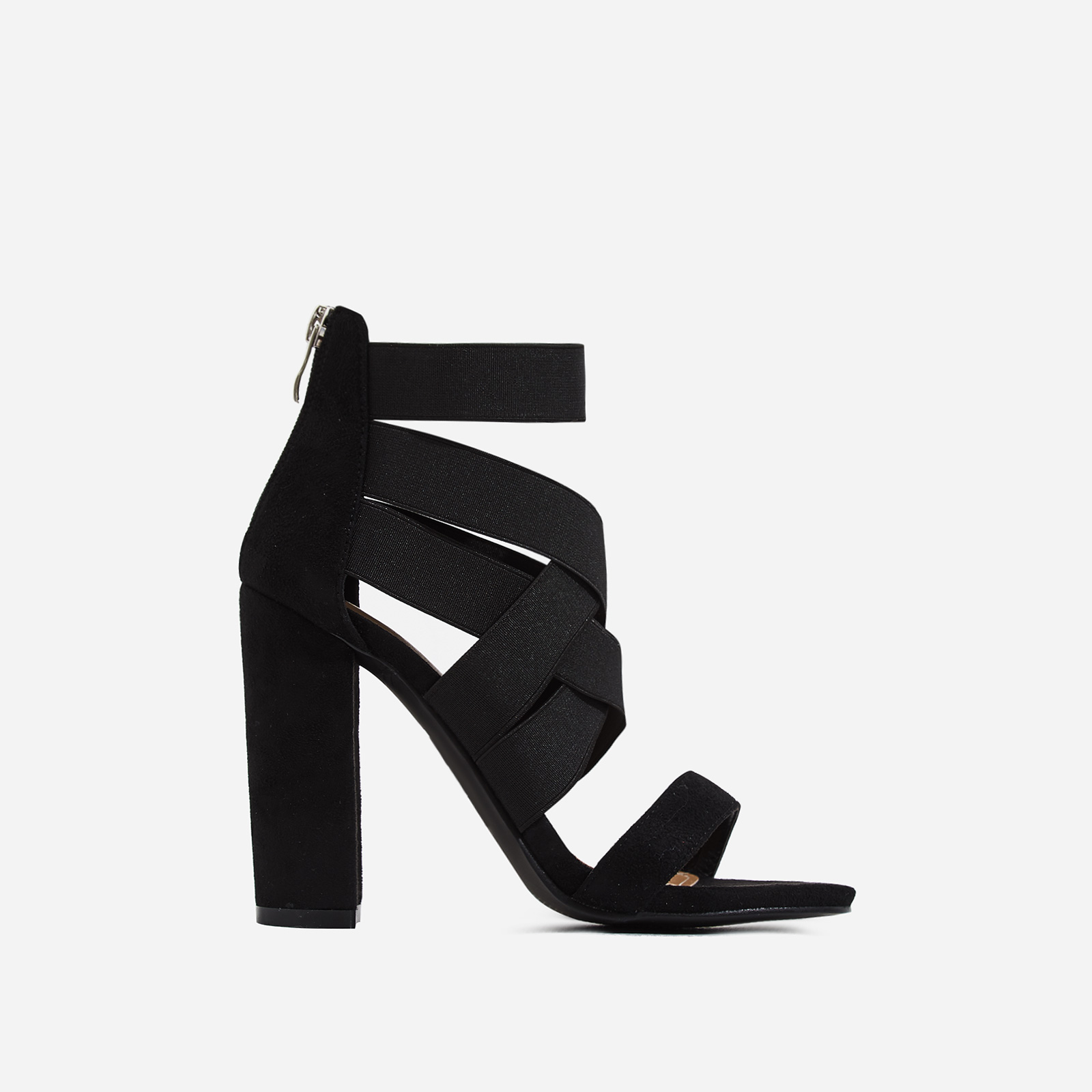 Connie Elasticated Caged Block Heel In Black Faux Suede