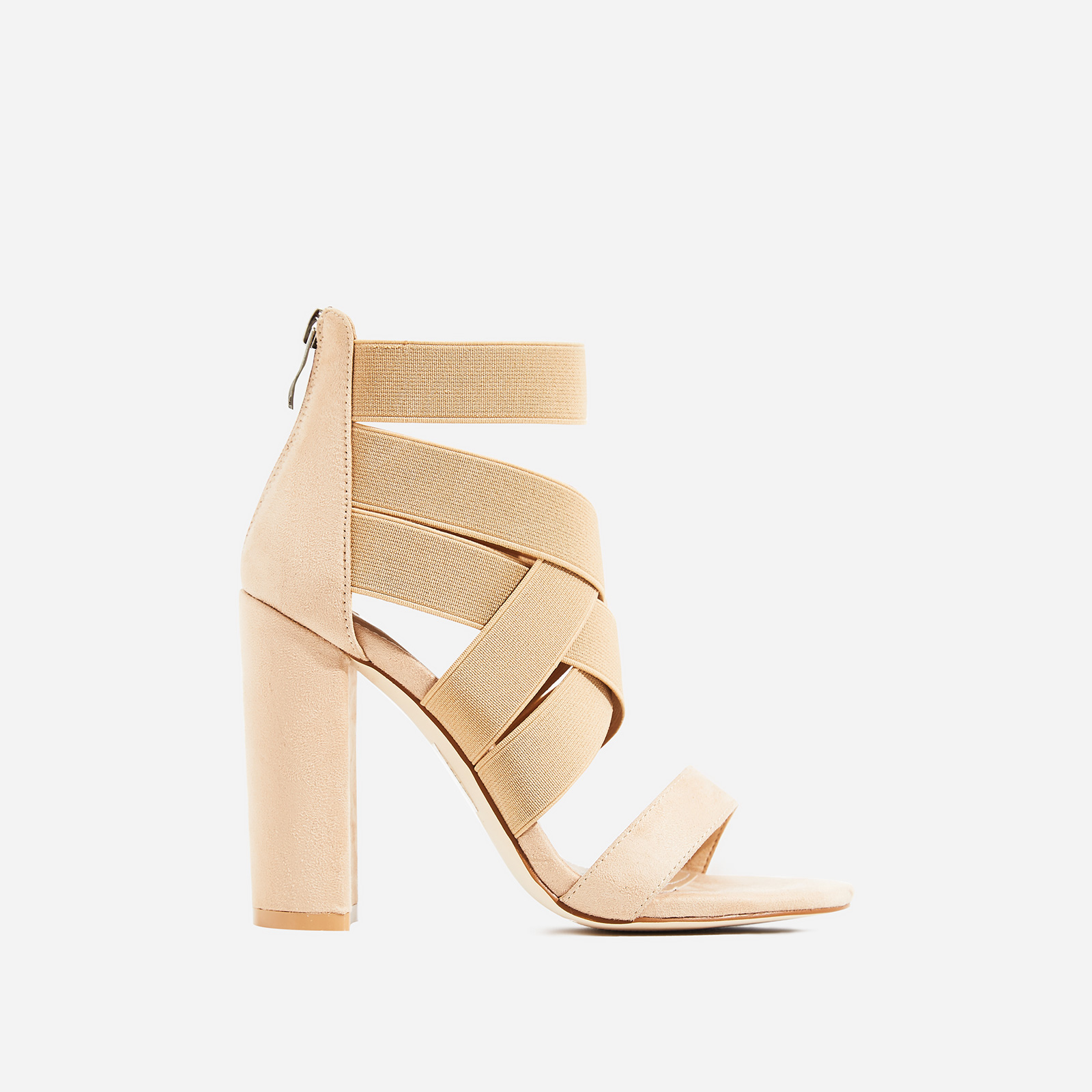 Connie Elasticated Caged Block Heel In Nude Faux Suede