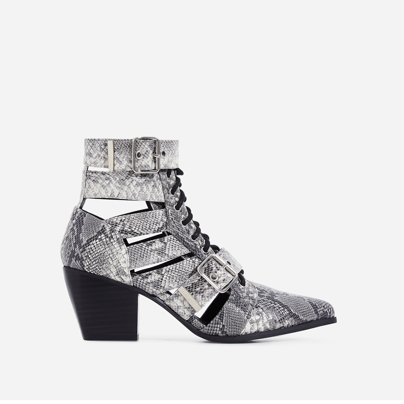 Cotto Cut Out Lace Up Ankle Western Boot In Grey Snake Print Faux Leather