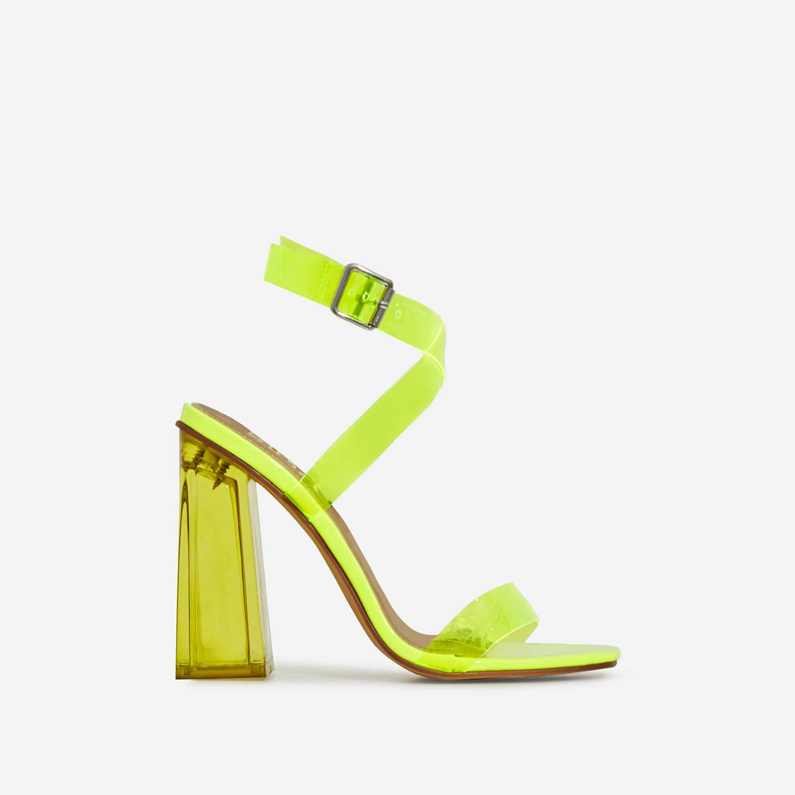 Saint Square Toe Perspex Flared Block Heel In Lime Green Patent