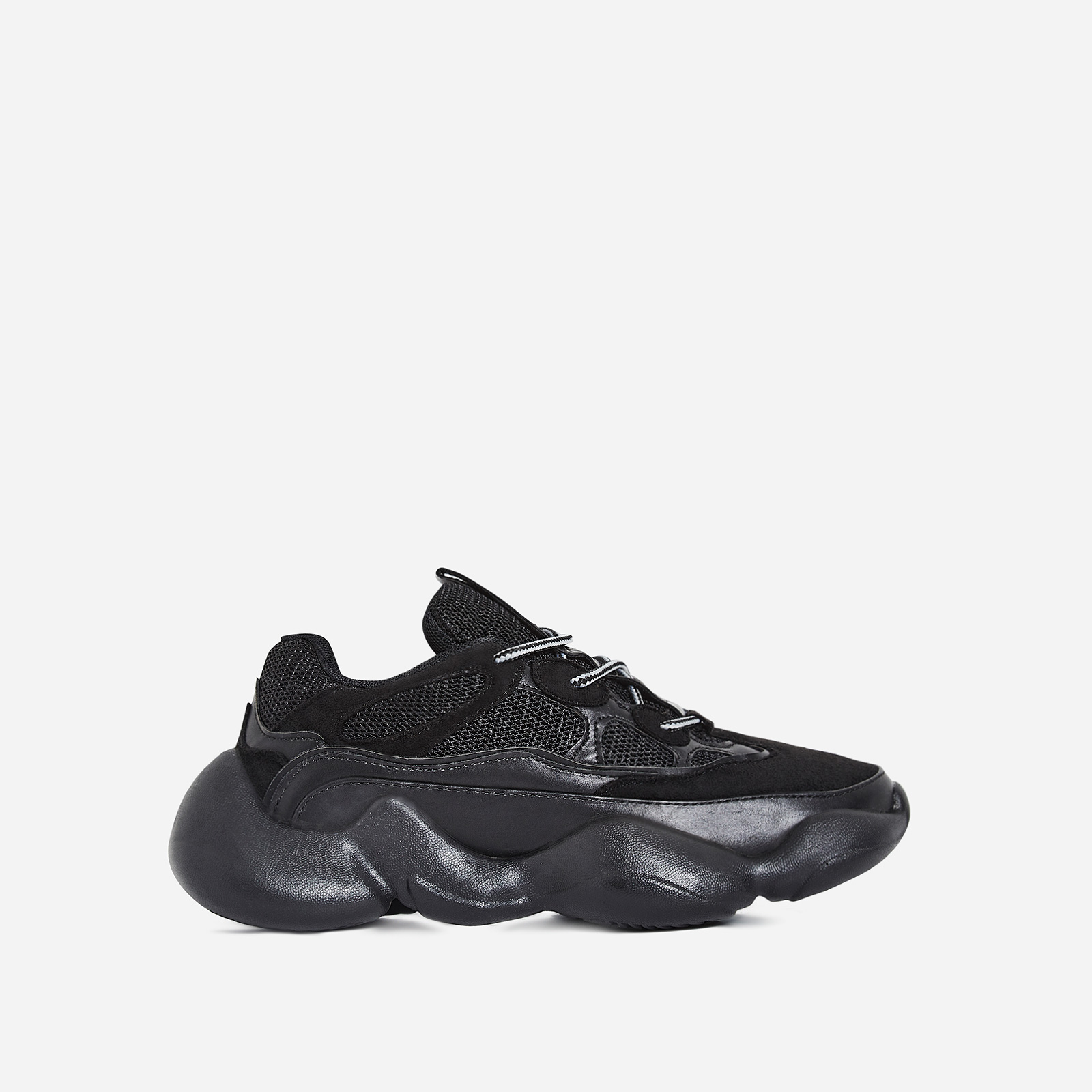 Crayon Chunky Sole Mesh Trainer In Black