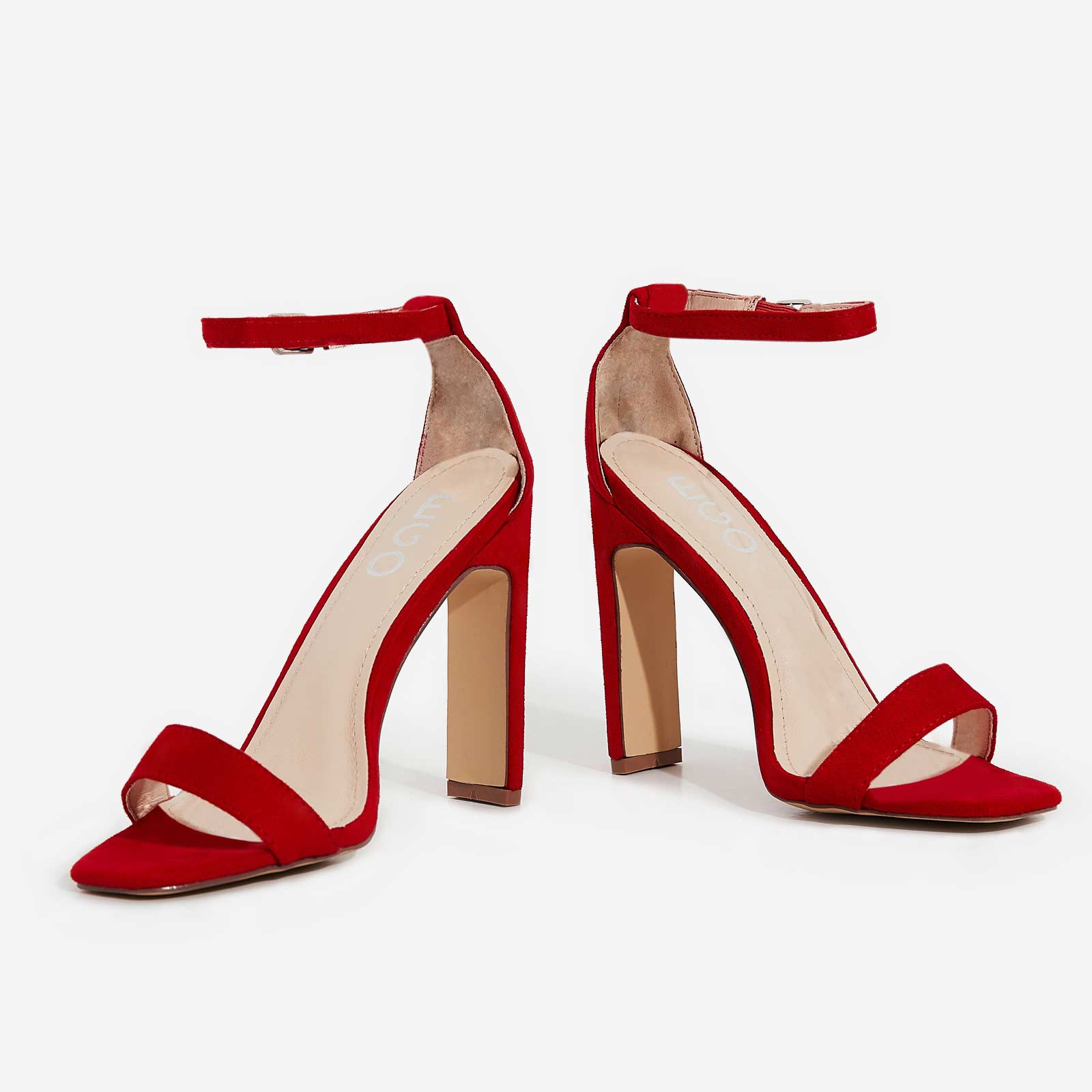 Crown Barely There Thin Block Heel In Red Faux Suede