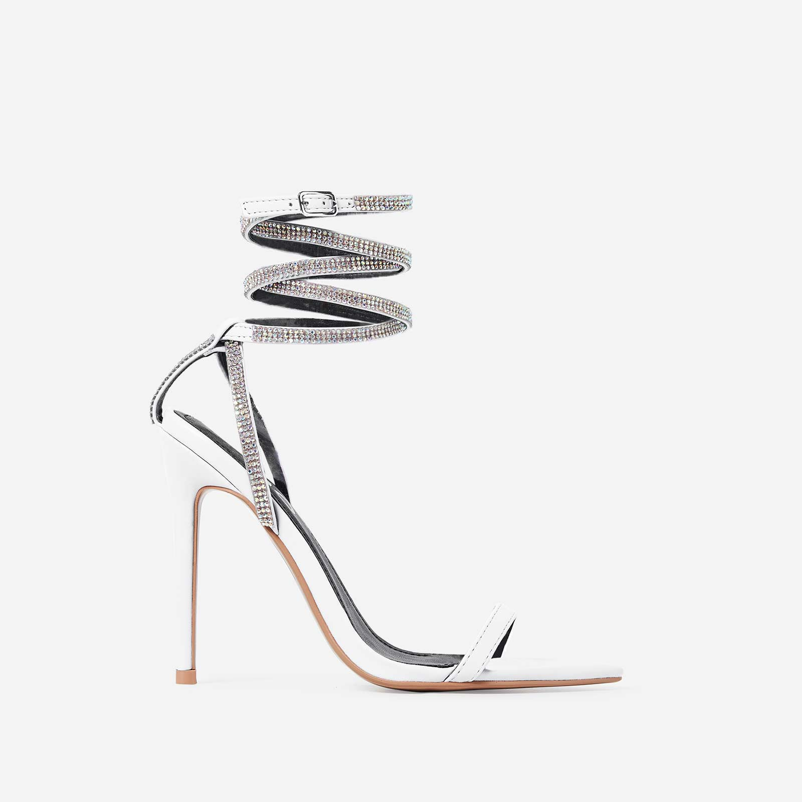 Crystal Diamante Lace Up Heel In White Faux Leather