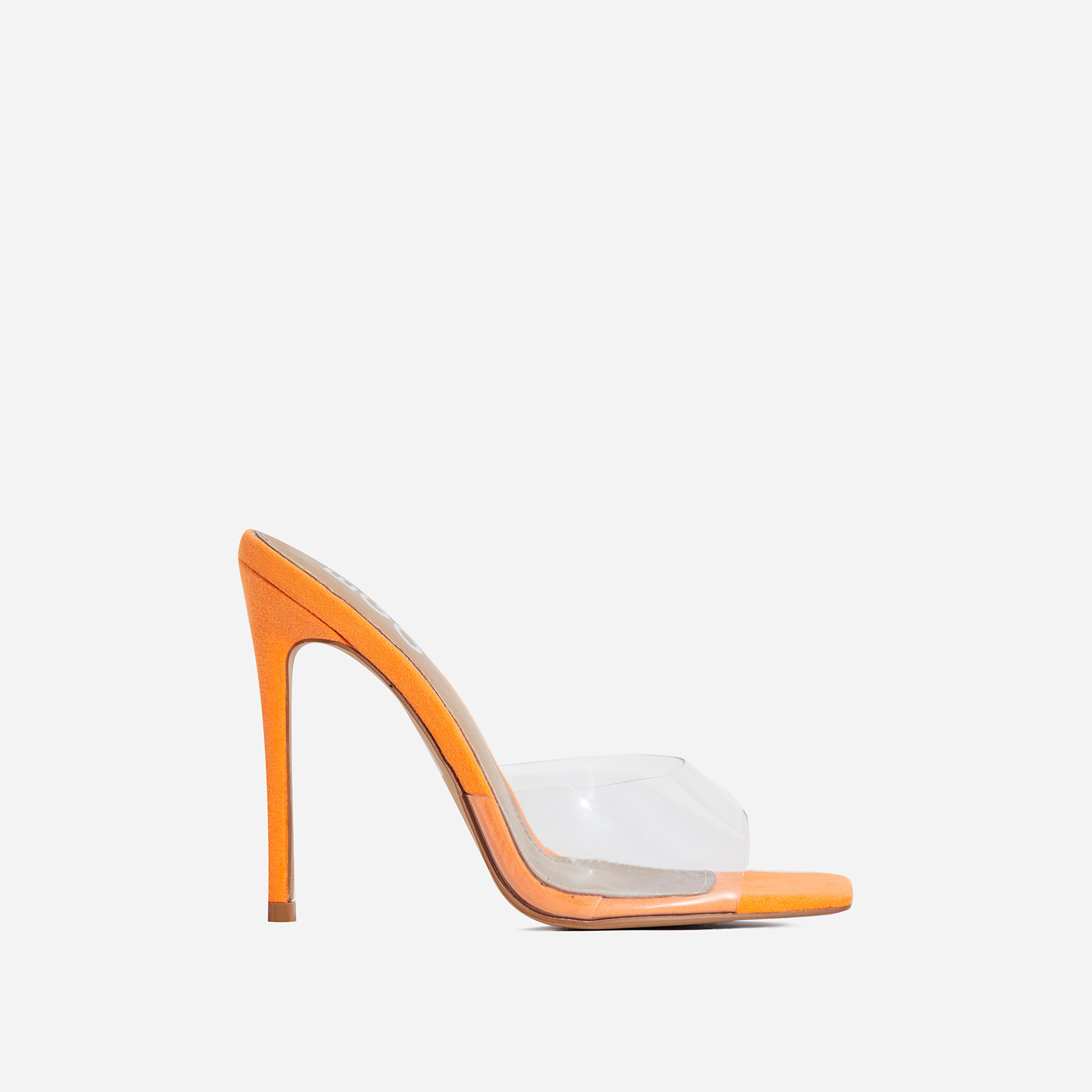 Cyan Square Toe Perspex Peep Toe Mule In Lime Orange Faux Suede