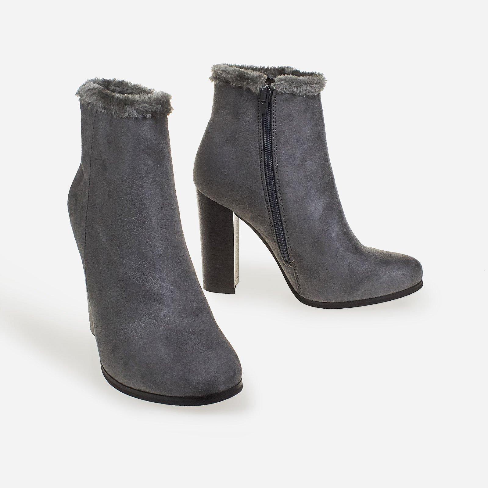 Adison Faux Fur Trim Block Heel Ankle Boot In Grey Faux Suede