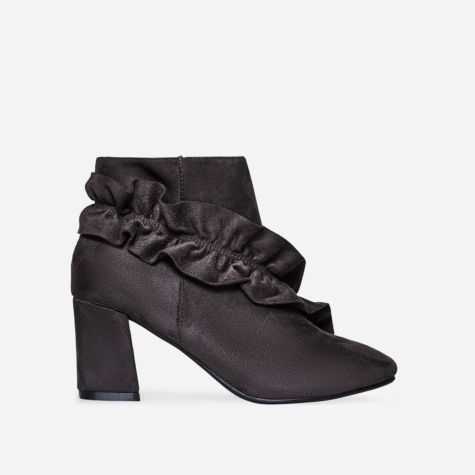 Daria Frill Detail Ankle Boot In Grey Faux Suede