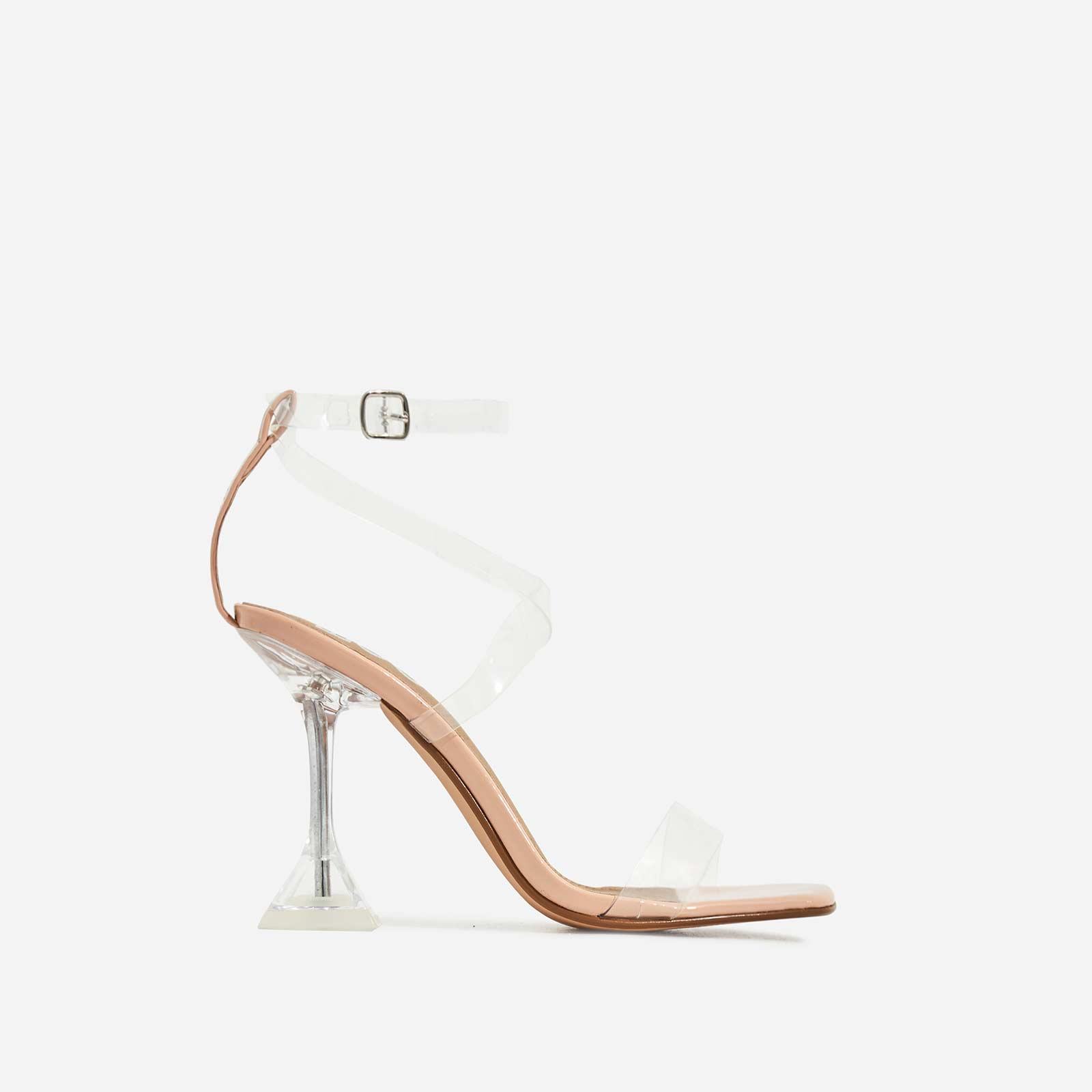 Daydream Barely There Square Toe Perspex Heel In Nude Patent