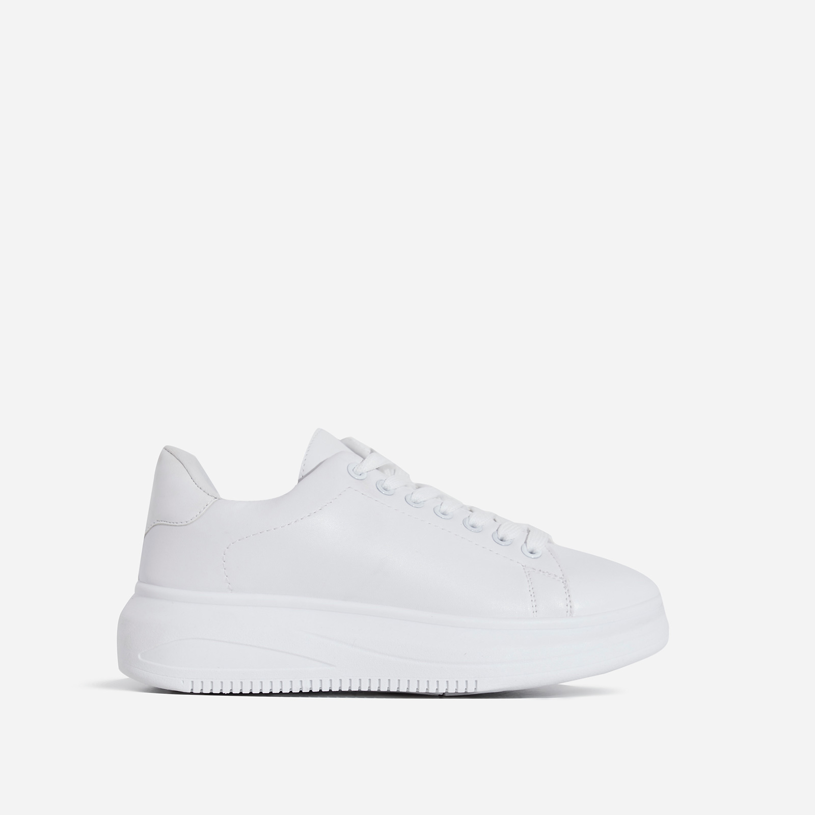 Oracle Chunky Sole Trainer In White Faux Leather