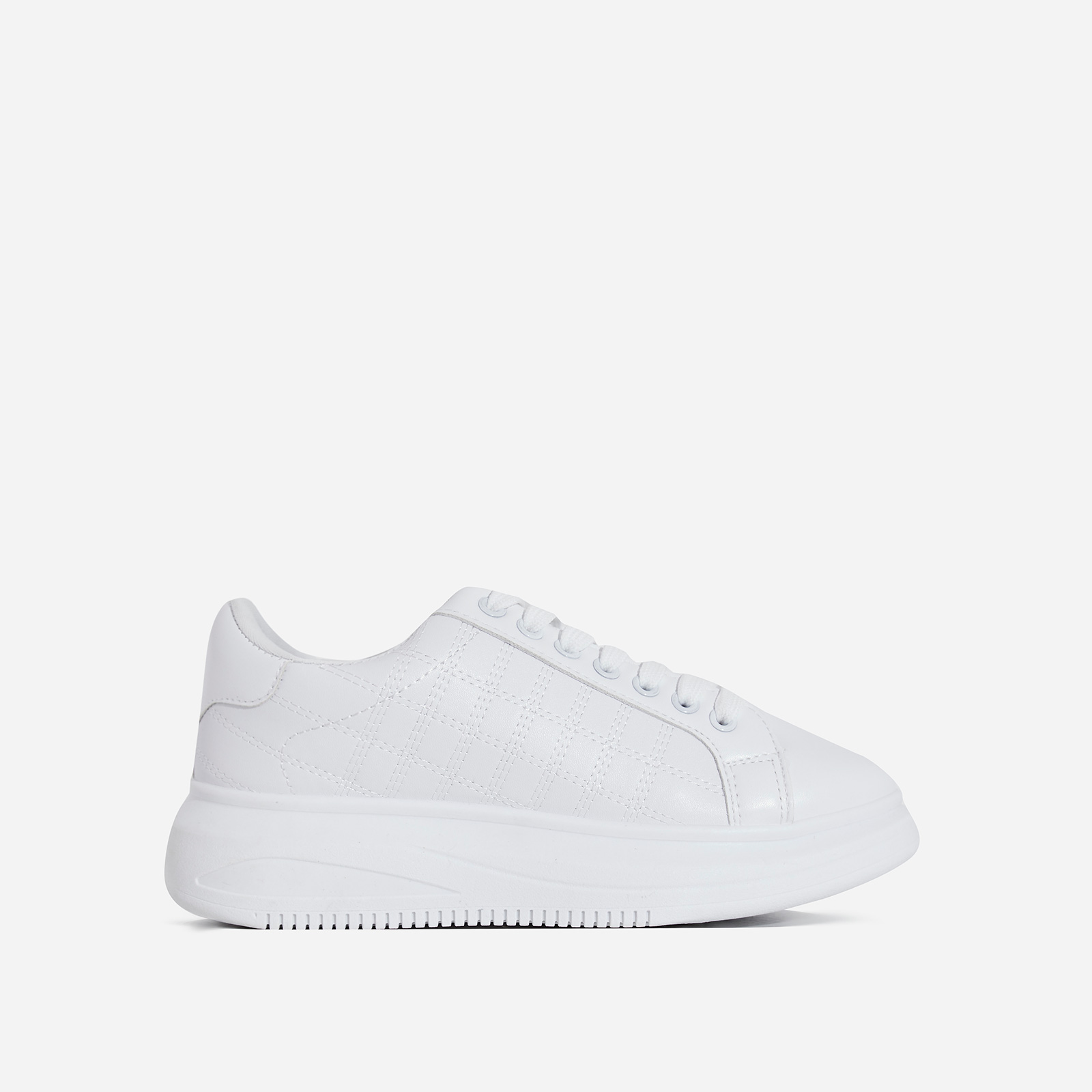 Avi Stitch Detail Chunky Sole Trainer In White Faux Leather
