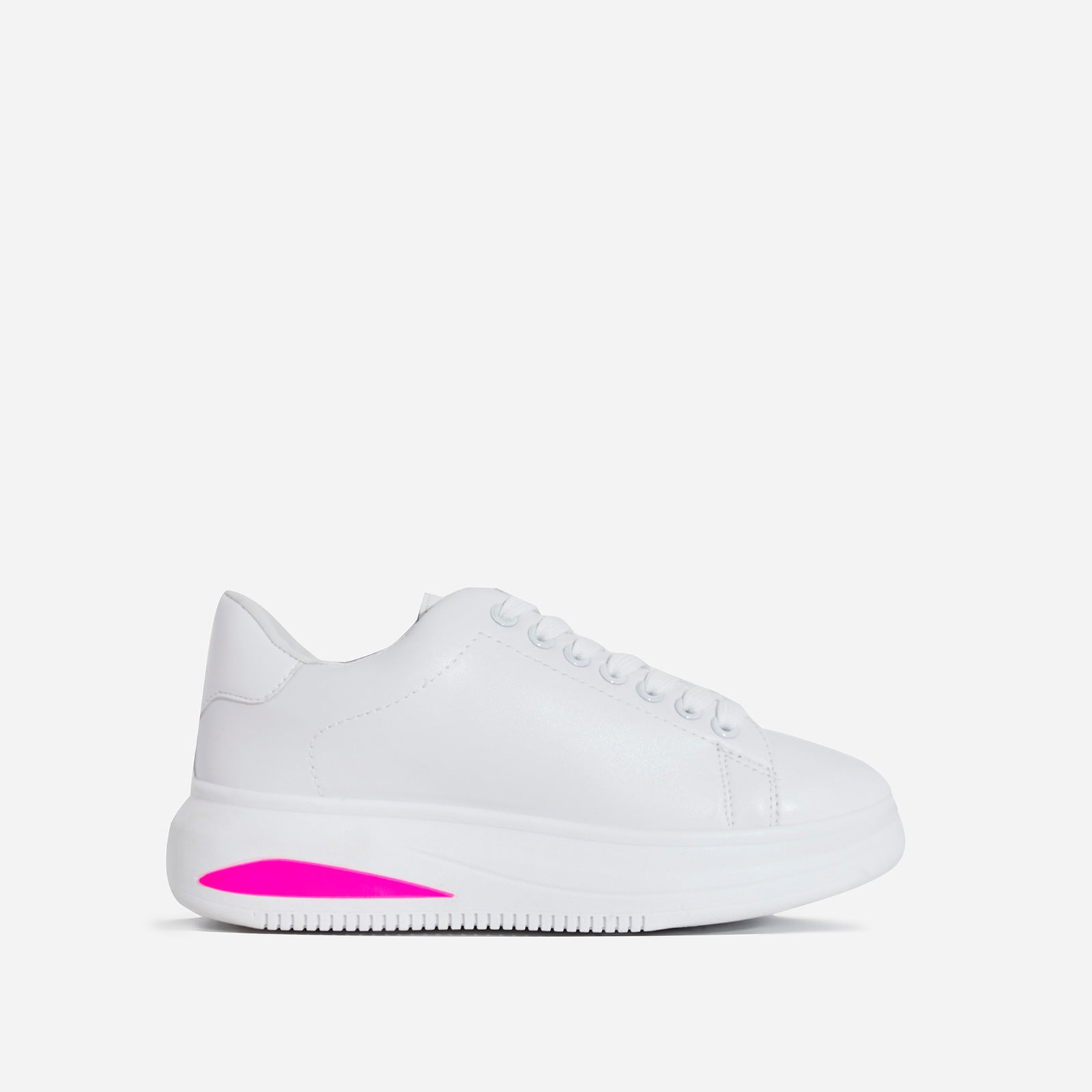 Trinity Neon Pink Detail Chunky Sole Trainer In White Faux Leather