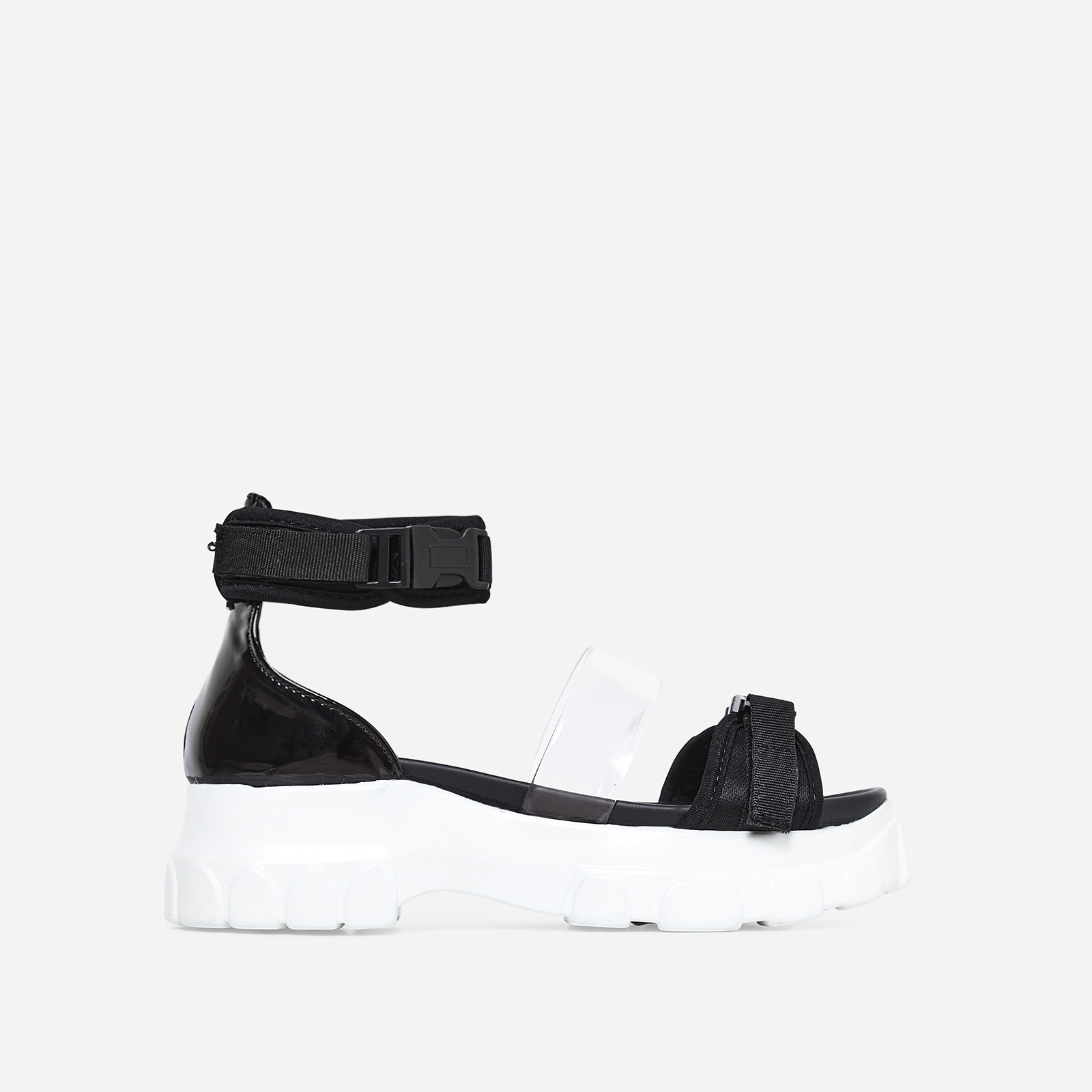 Delle Perspex Detail Chunky Sandal In Black Faux Leather