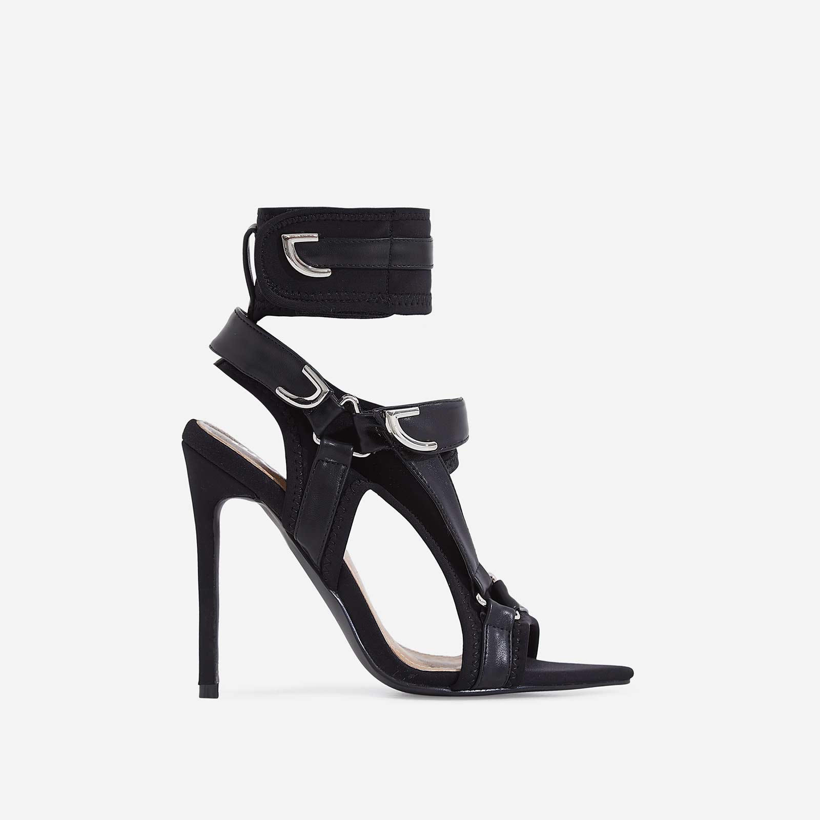 Dive-In Pointed Cage Heel In All Black Lycra