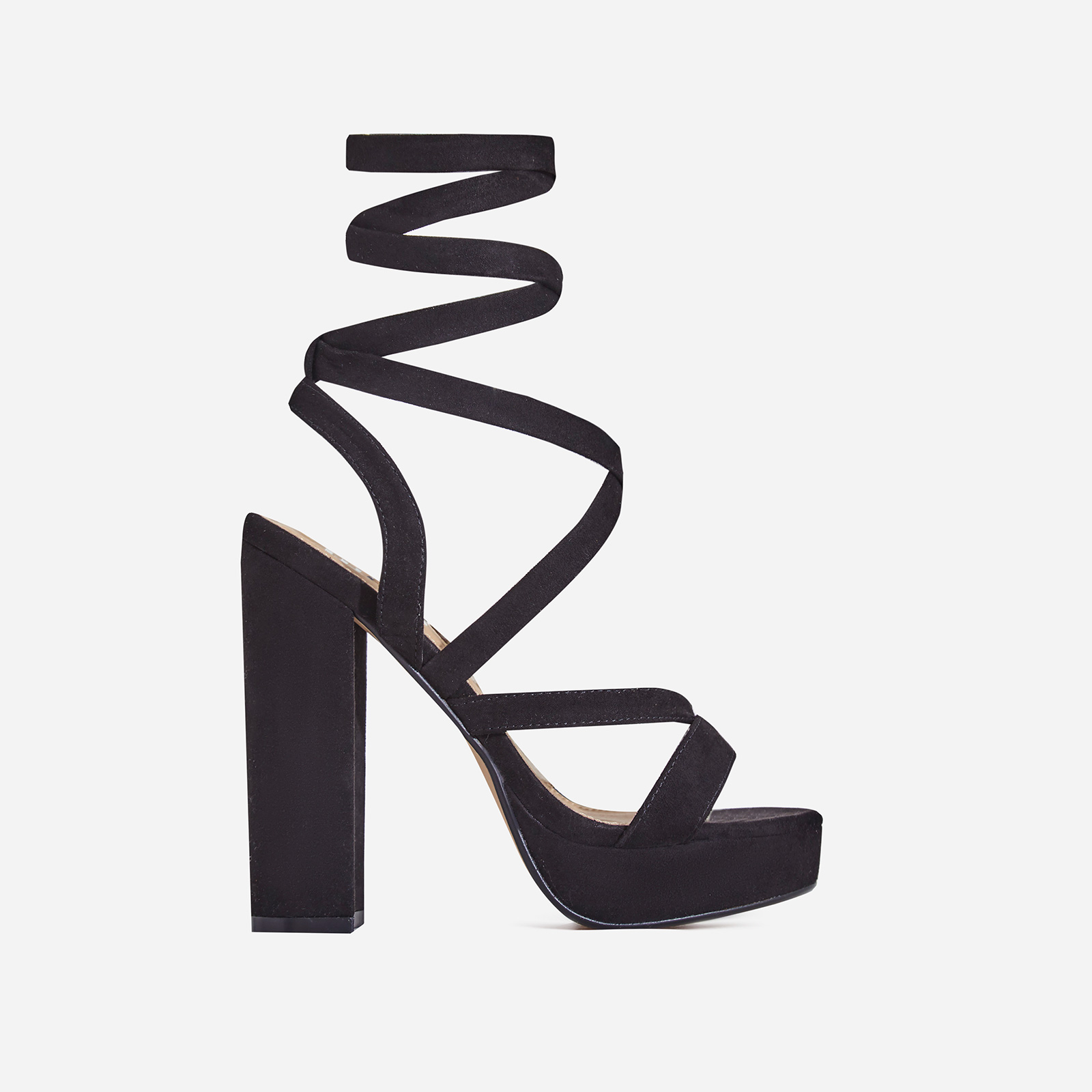 Doris Lace Up Platform Heel In Black Faux Suede