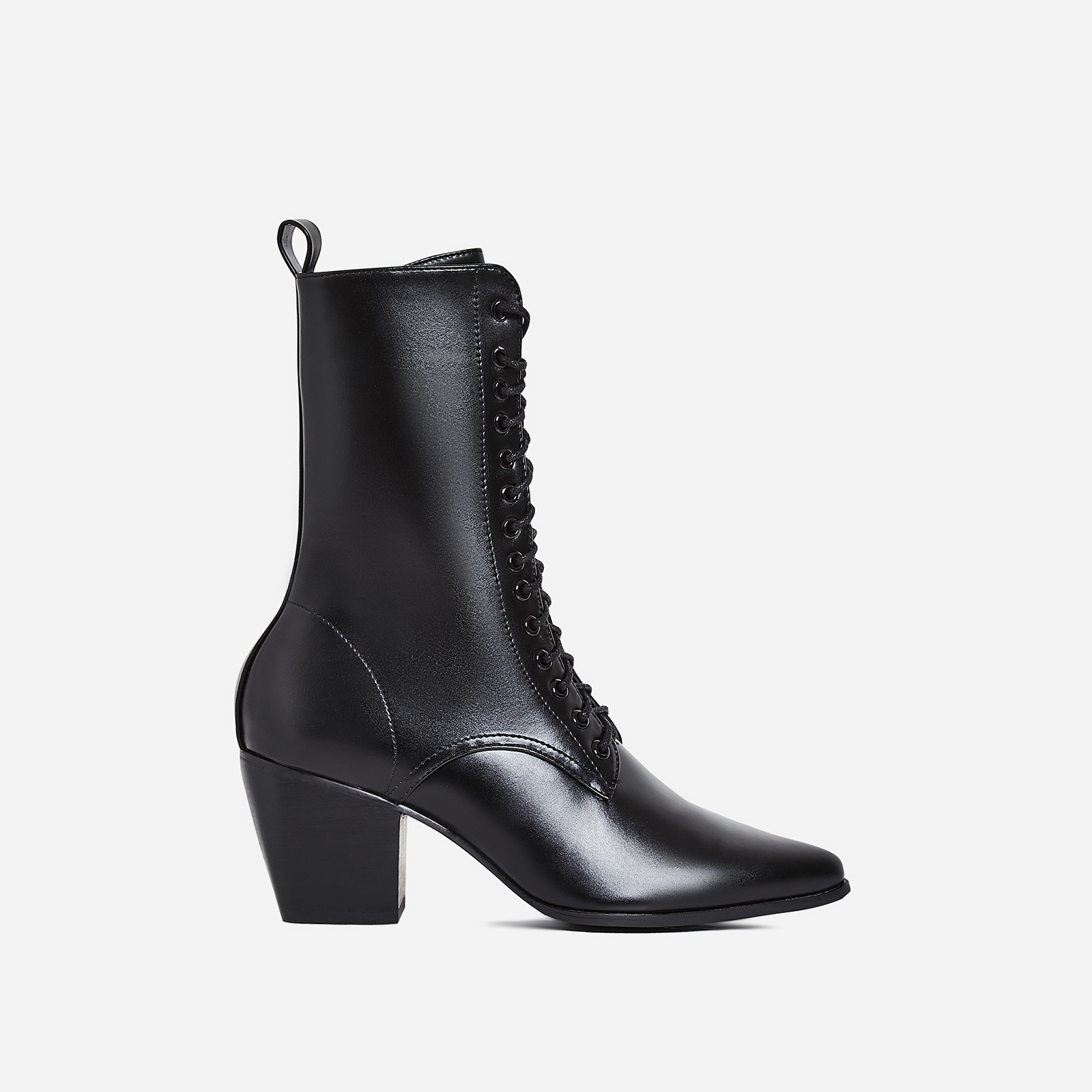 Corley Lace Up Ankle Boot In Black Faux Leather