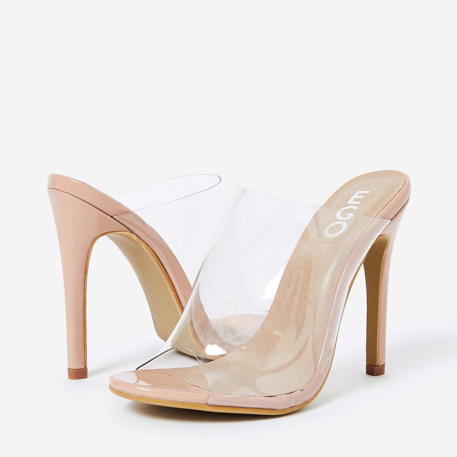 Elegant Perspex Peep Toe Mule In Nude Patent