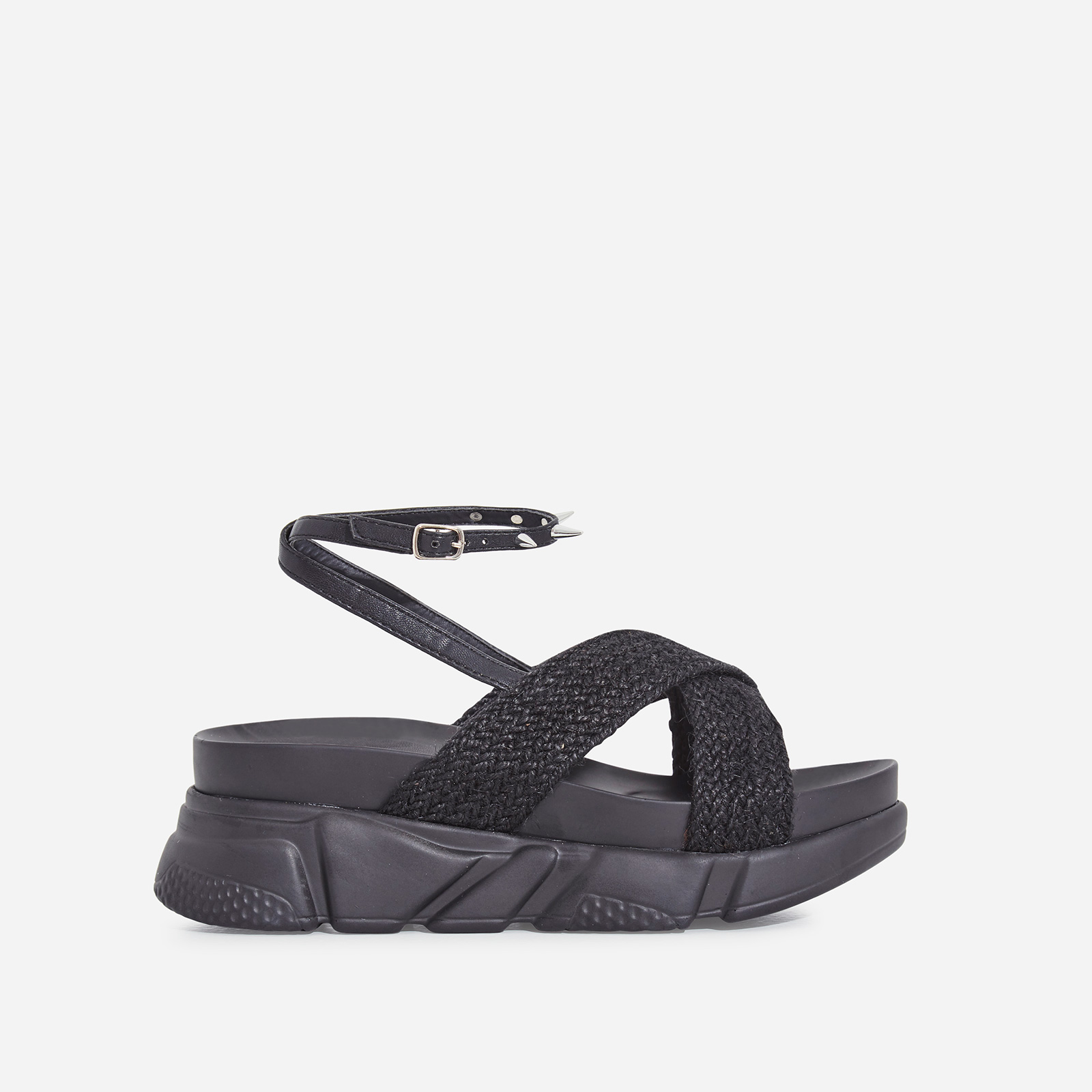 Edie Studded Detail Rope Chunky Sole Sandal In Black Faux Leather