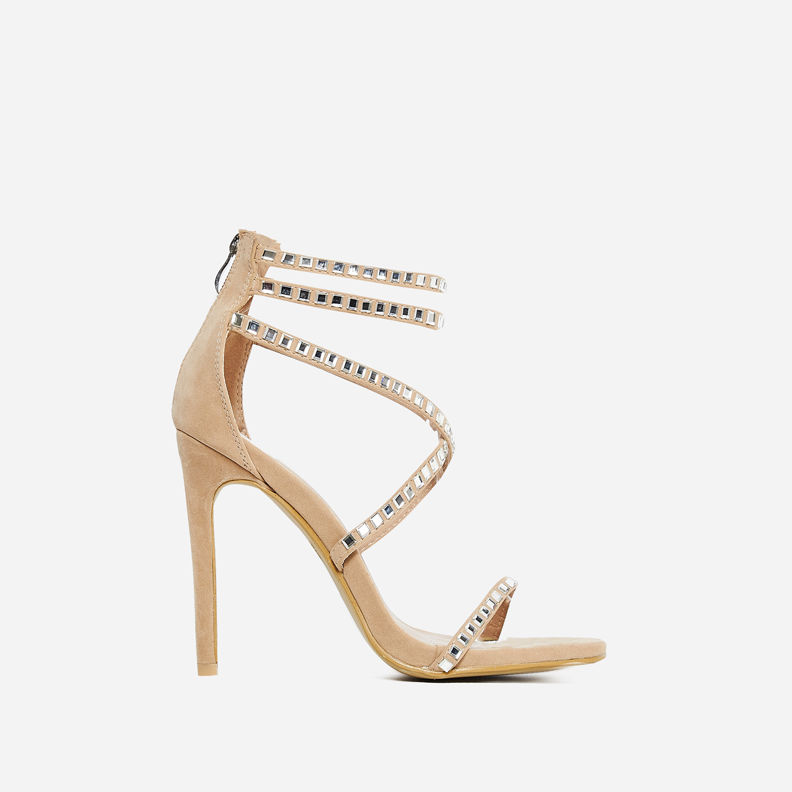 Diora Crystal Studded Heel In Nude Faux Suede