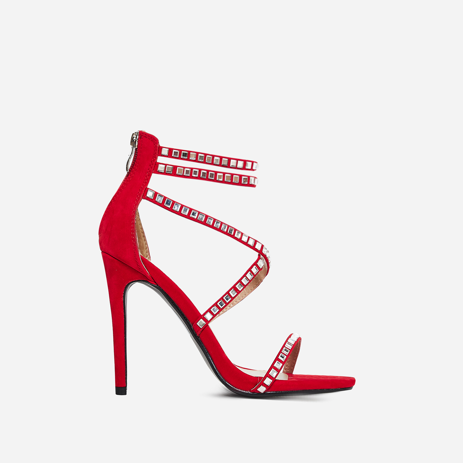 Diora Crystal Studded Heel In Red Faux Suede