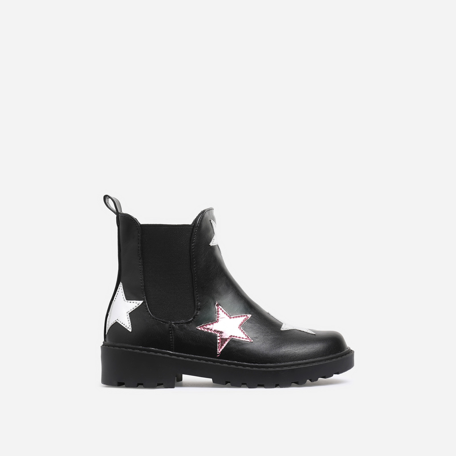 Tristan Girl's Star Print Detail Chelsea Ankle Biker Boot In Black Faux Leather