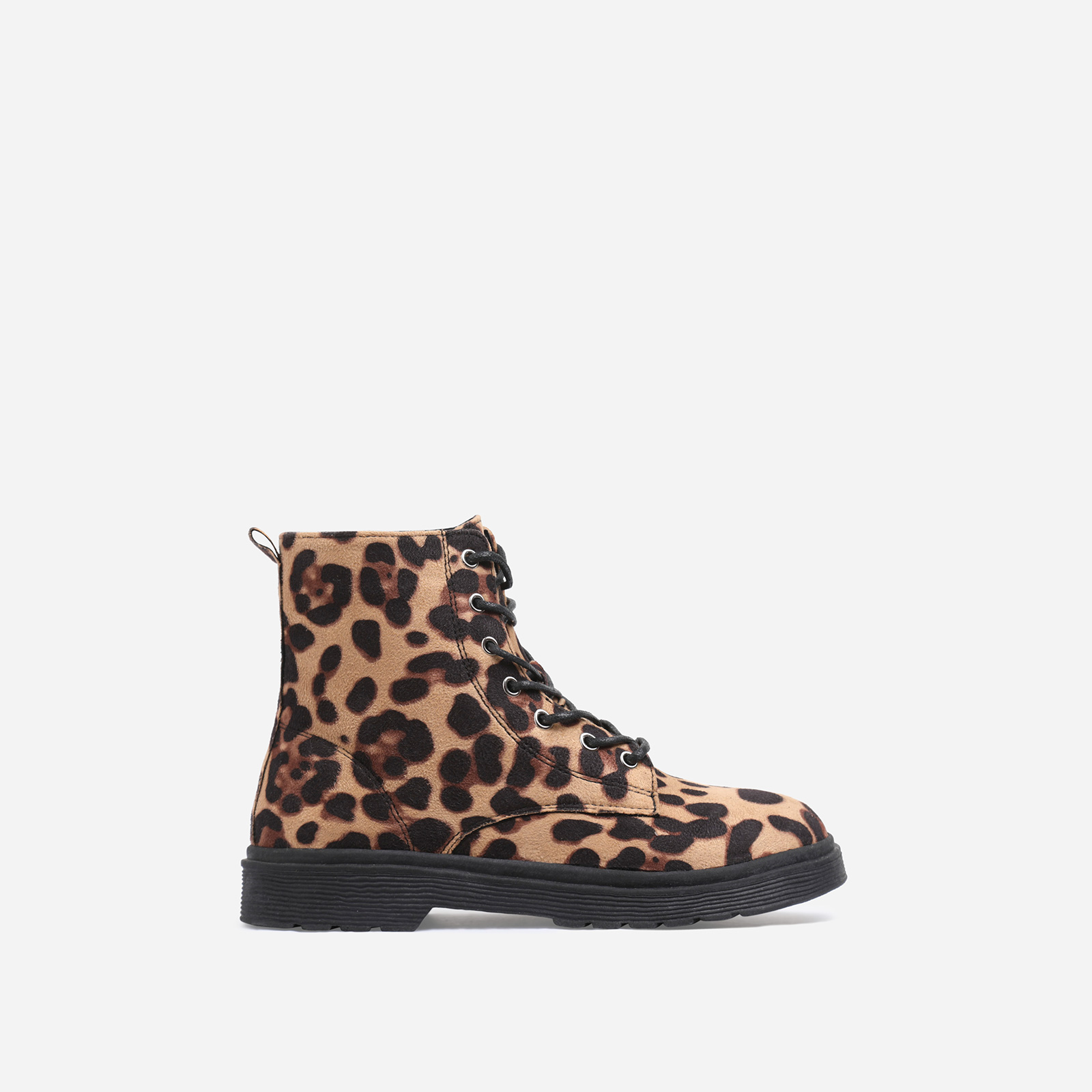 Poppin Girl's Lace Up Ankle Biker Boot In Tan Leopard Print Faux Suede