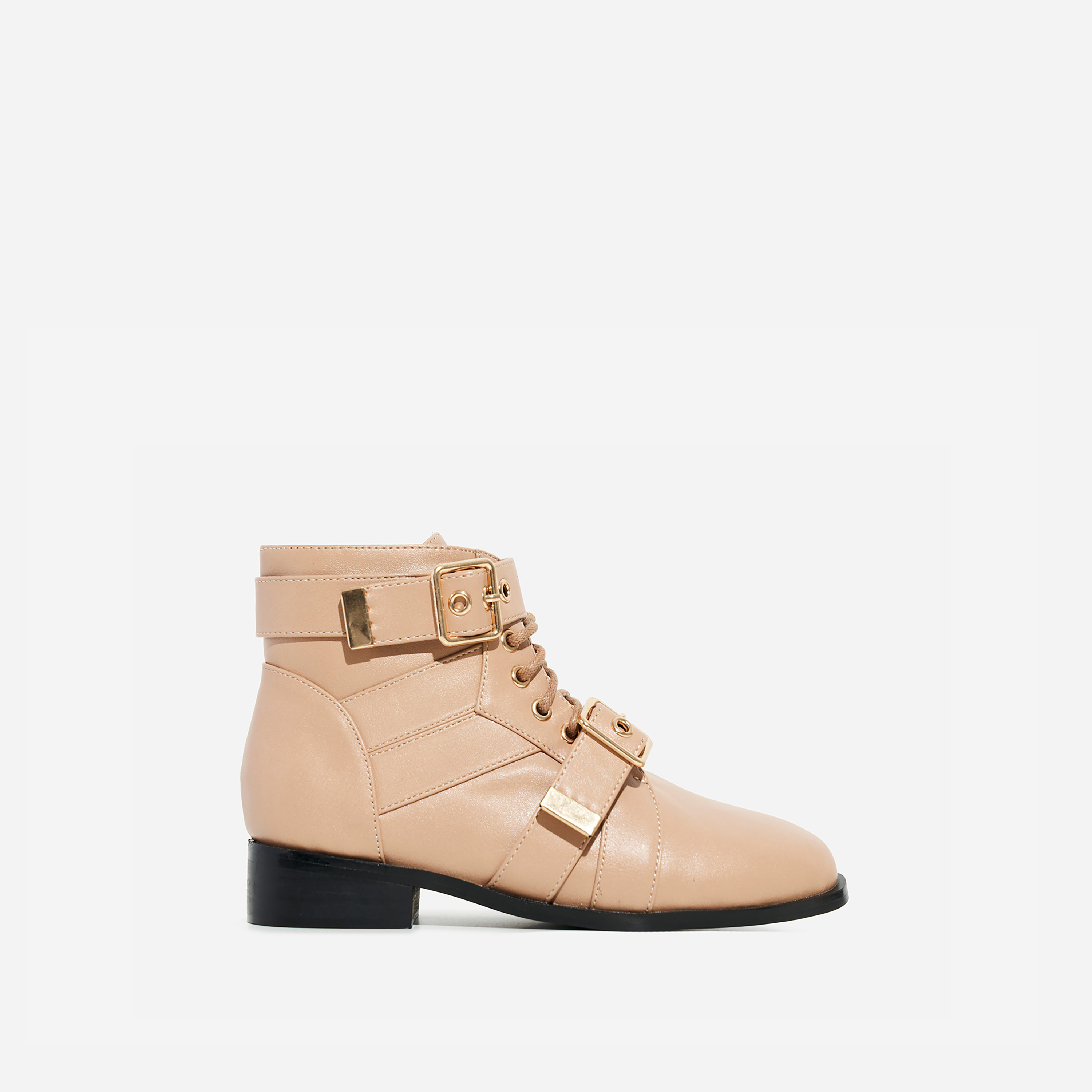 Howdy Girl's Buckle Detail Lace Up Ankle Biker Boot In Nude Faux Leather