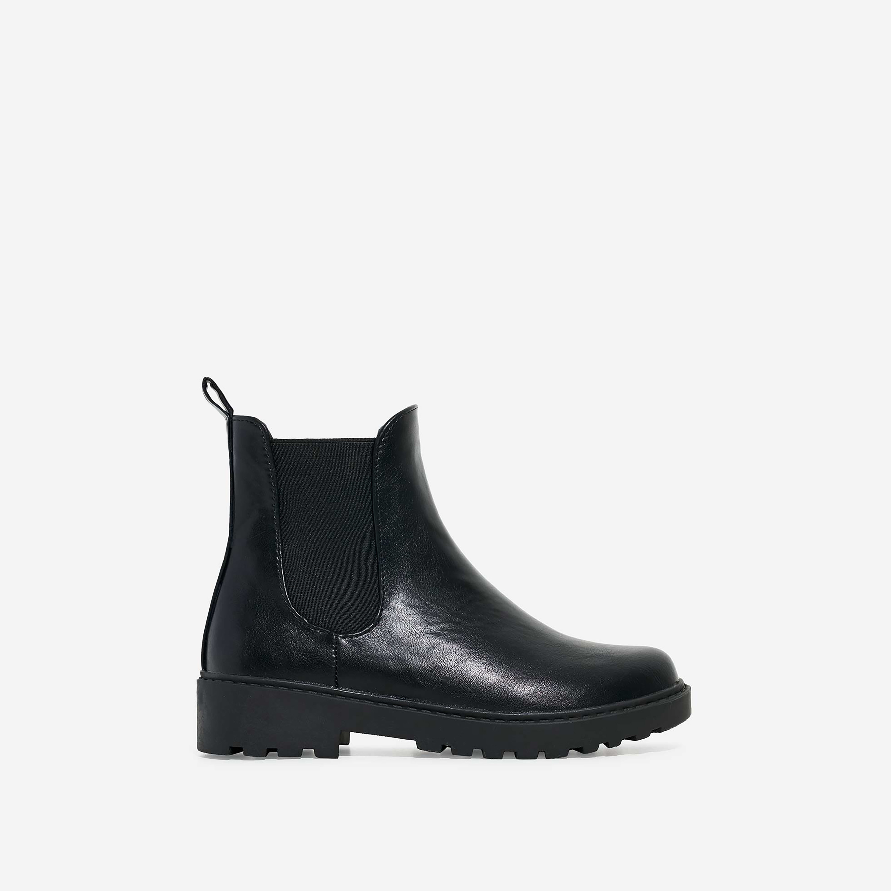 Tristan Girl's Chelsea Ankle Biker Boot In Black Faux Leather
