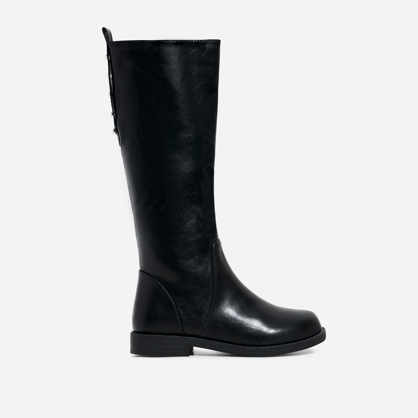 Sunshine Girl's Studded Detail Knee High Long Boot In Black Faux Leather