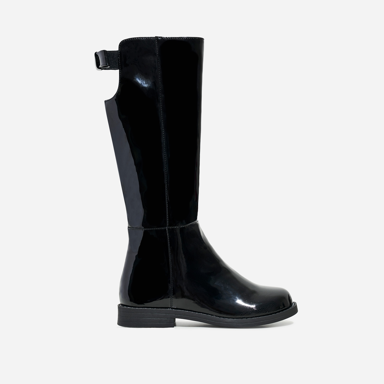 Flossy Girl's Bow Detail Knee High Long Boot In Black Patent