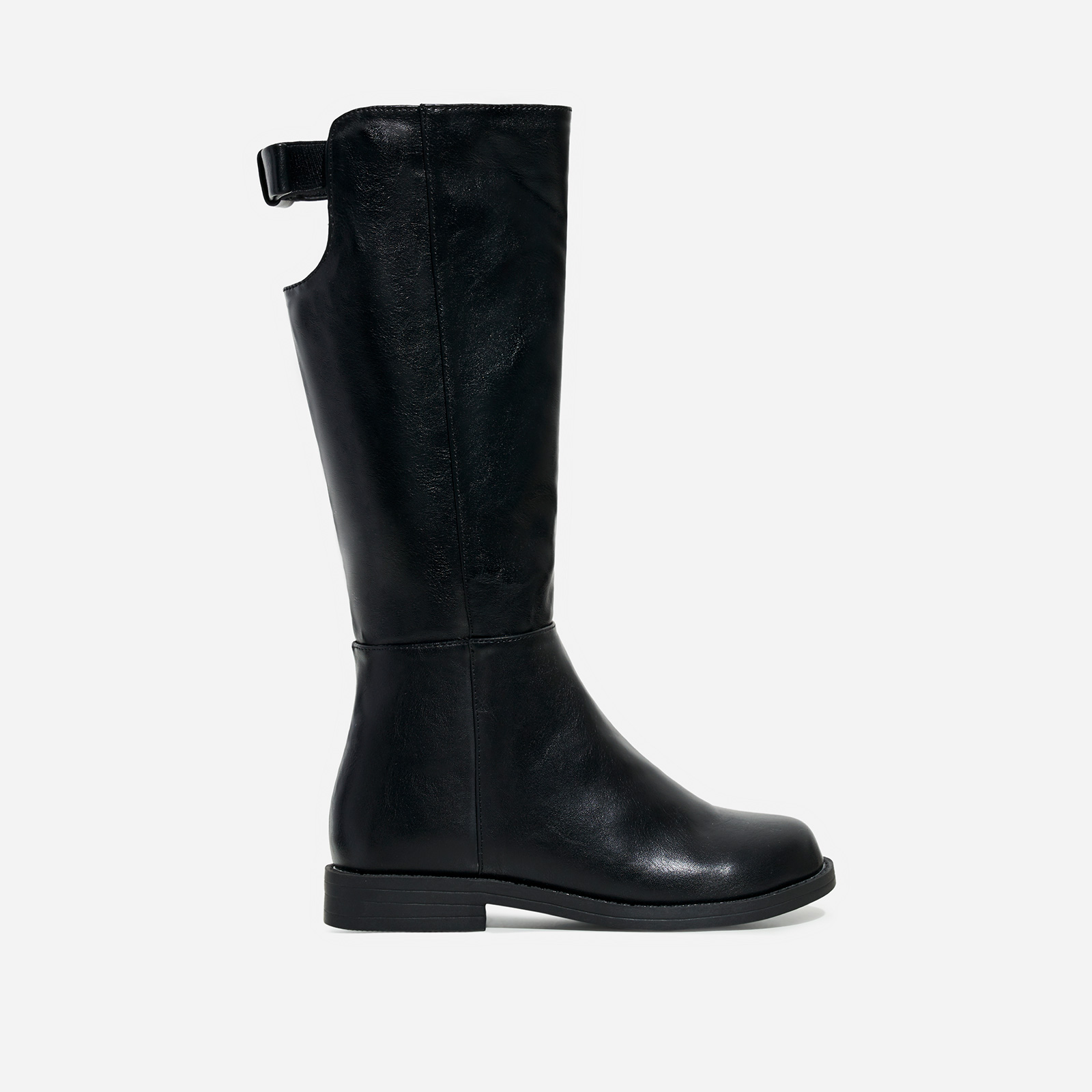 Flossy Girl's Bow Detail Knee High Long Boot In Black Faux Leather