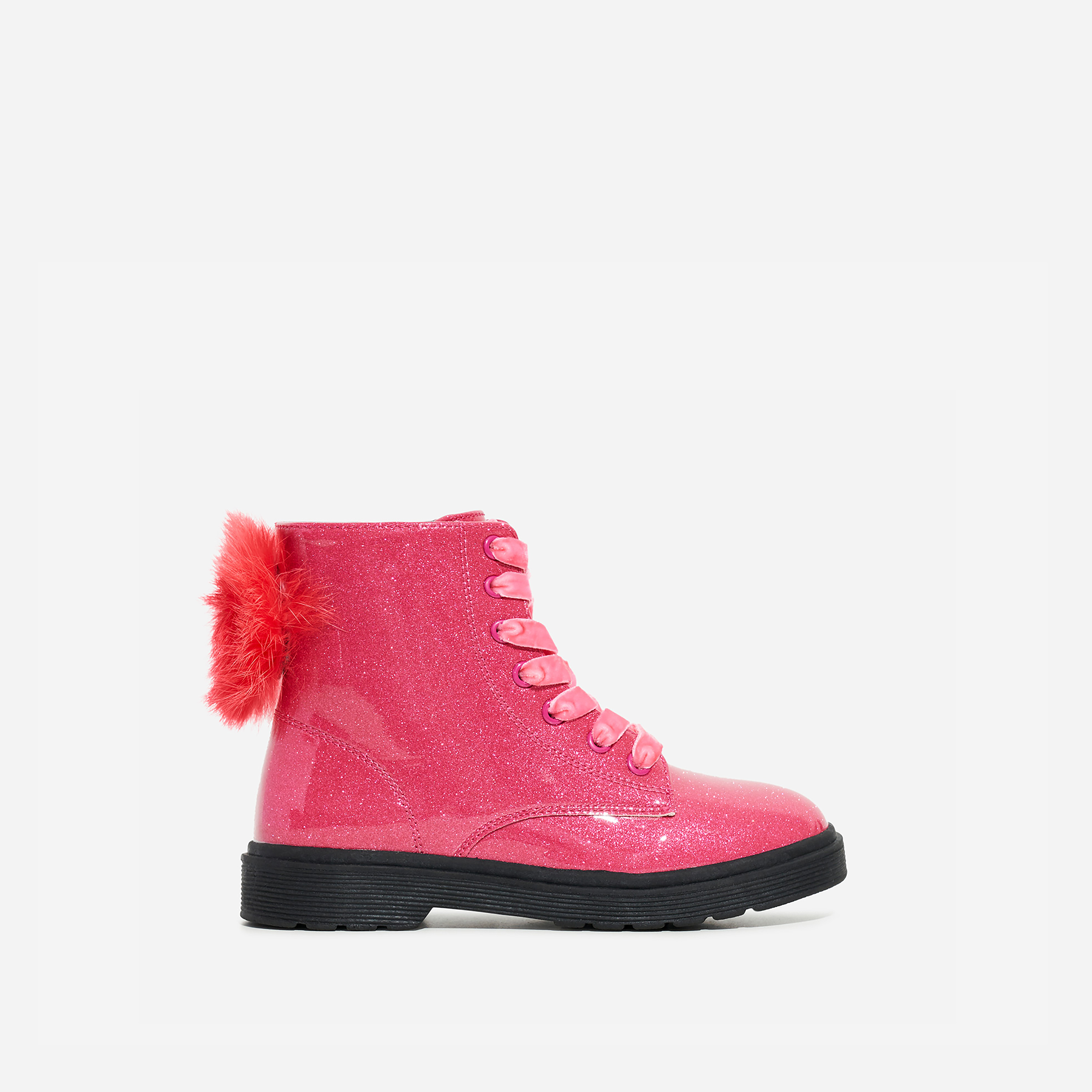Pom Girl's Faux Feather Detail Lace Up Ankle Biker Boot In Pink Glitter Patent