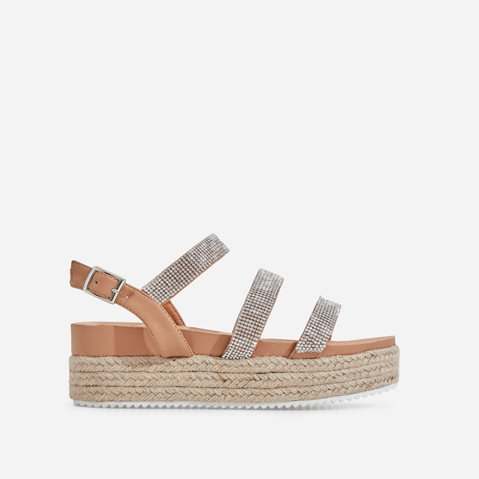 Eilish Diamante Detail Espadrille Flatform In Nude Faux Leather