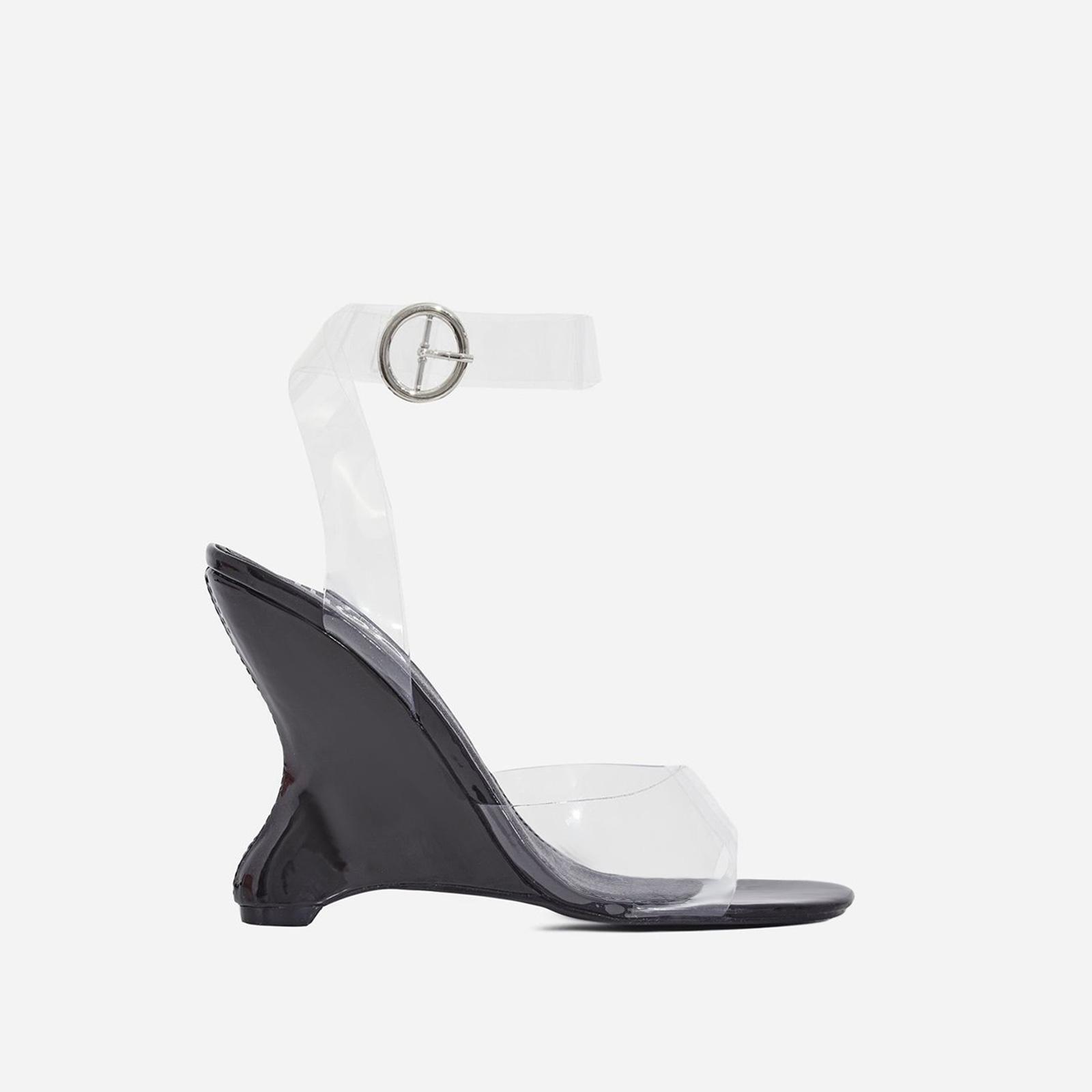 Eli Perspex Wedge Block Heel In Black Patent