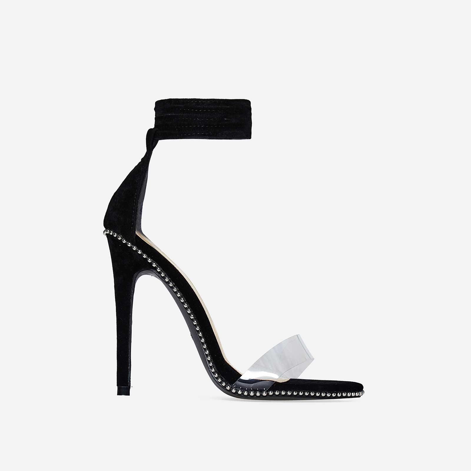 Elodie Studded Lace Up Perspex Heel In Black Faux Suede