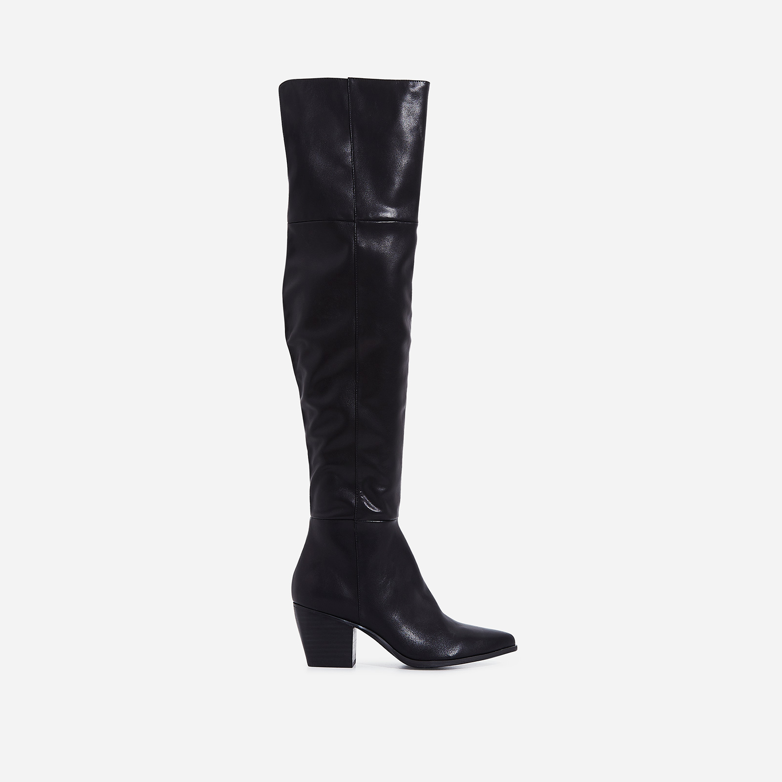 Emanuel Over The Knee Long Boot In Black Faux Leather