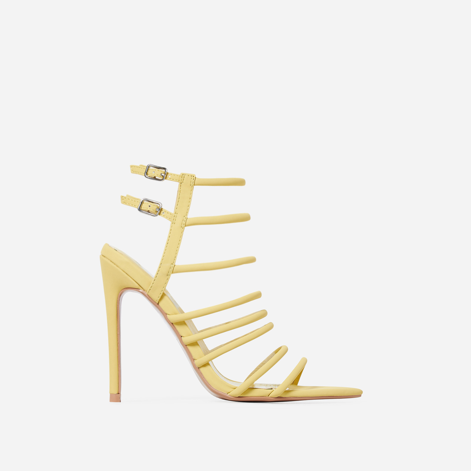 Endless Lace Up Heel In Yellow Faux Leather