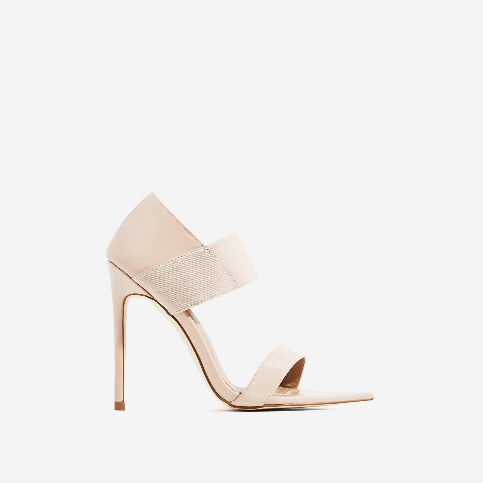 Erika Elasticated Pointed Peep Toe Heel In Nude Patent