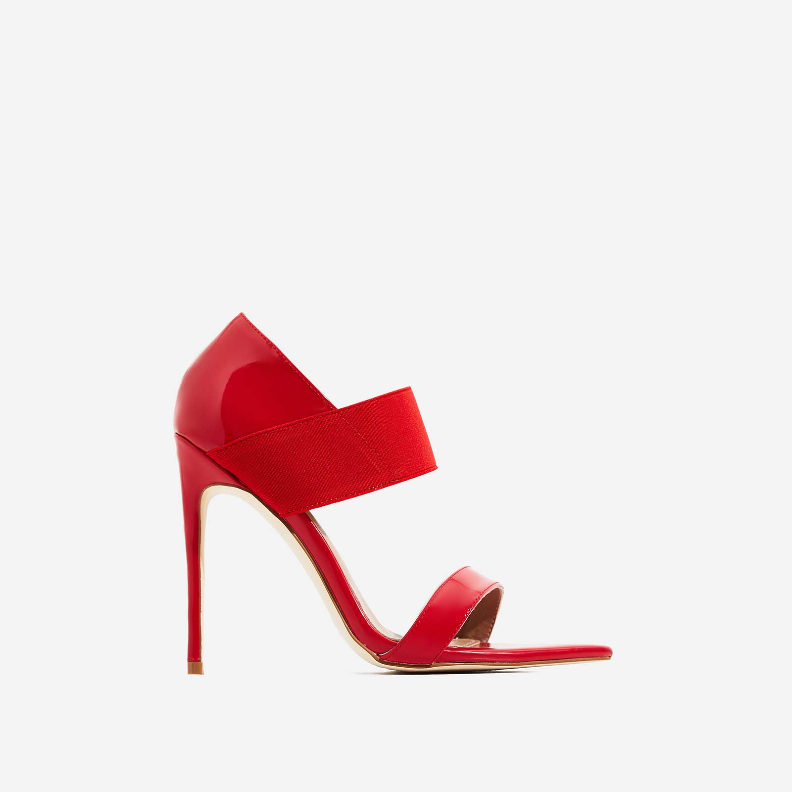 Erika Elasticated Pointed Peep Toe Heel In Red Patent