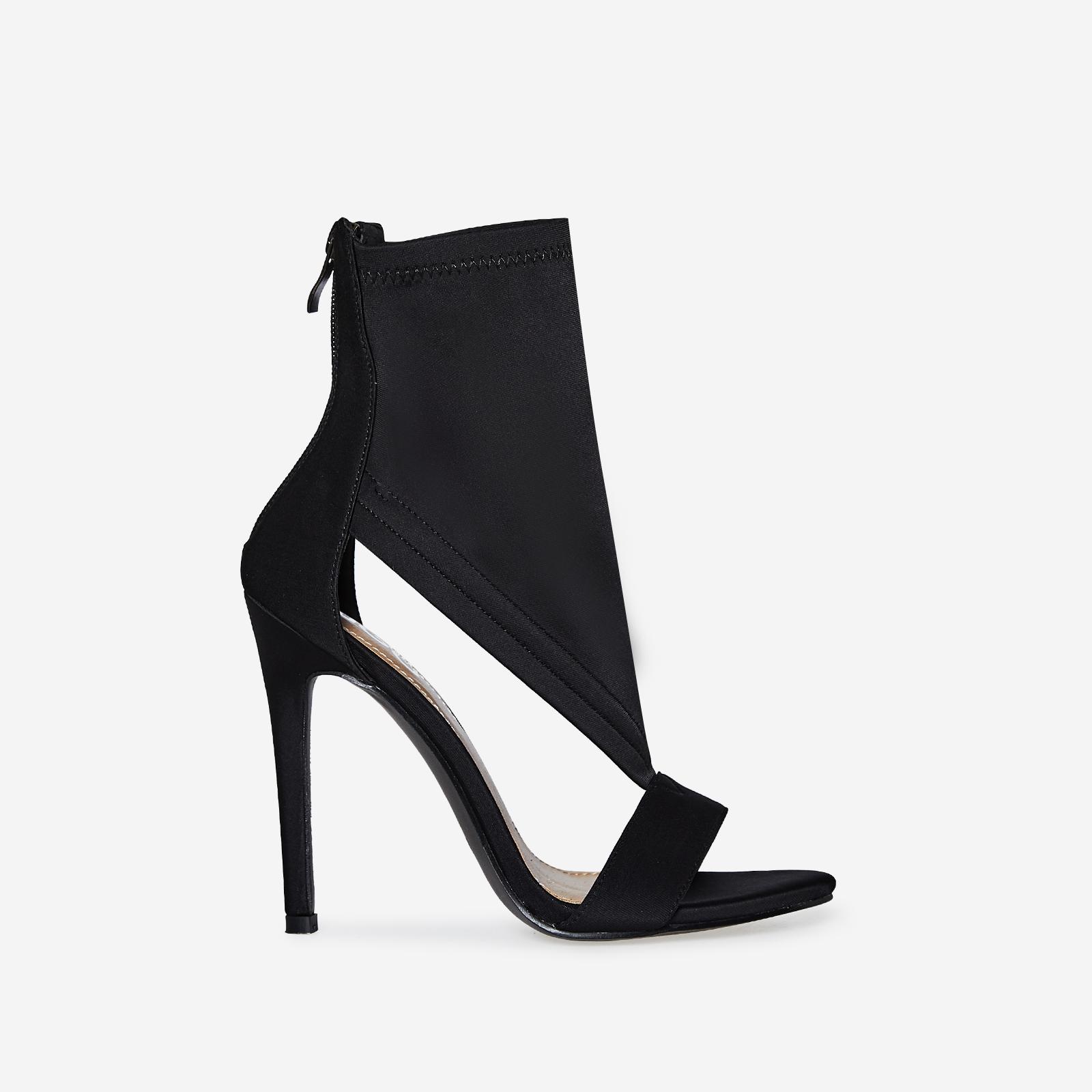 Yuri Cutout Peep Toe Heel In Black Lycra