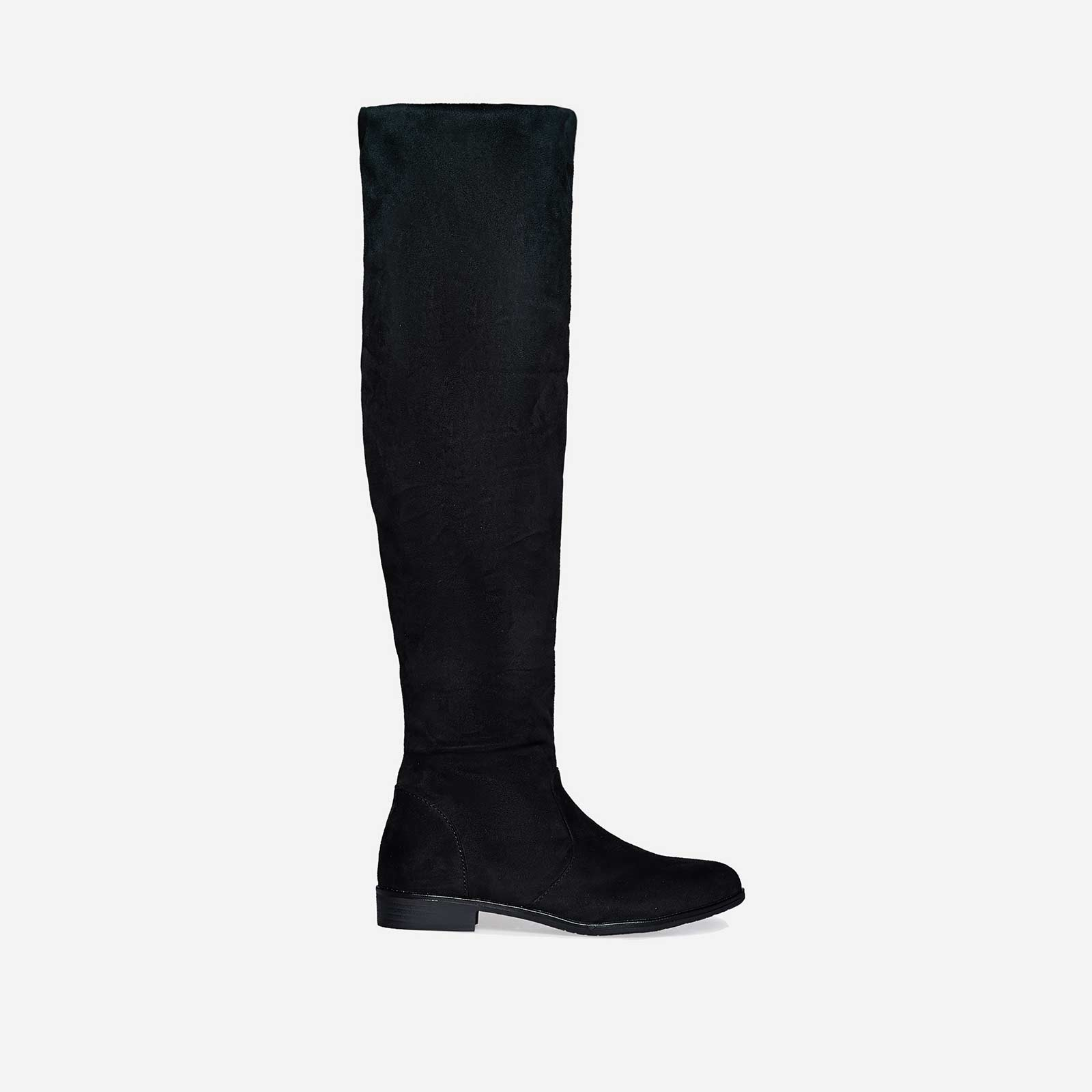 Maxine Long Boot In Black Faux Suede