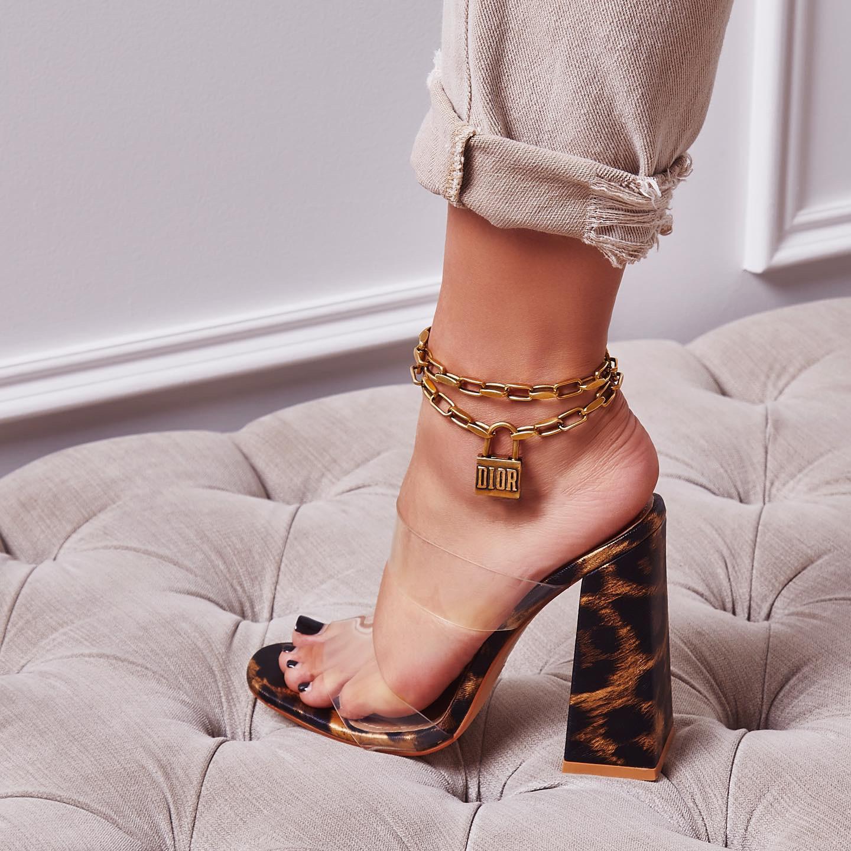 Hester Flared Block Heel Perspex Mule In Tan Leopard Print Faux Leather