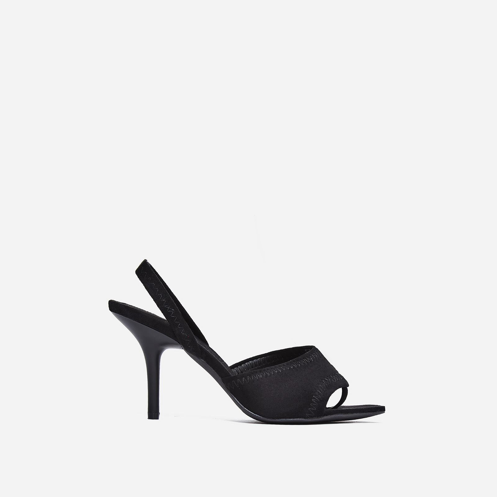 Fierce Peep Toe Mule In Black Faux Suede